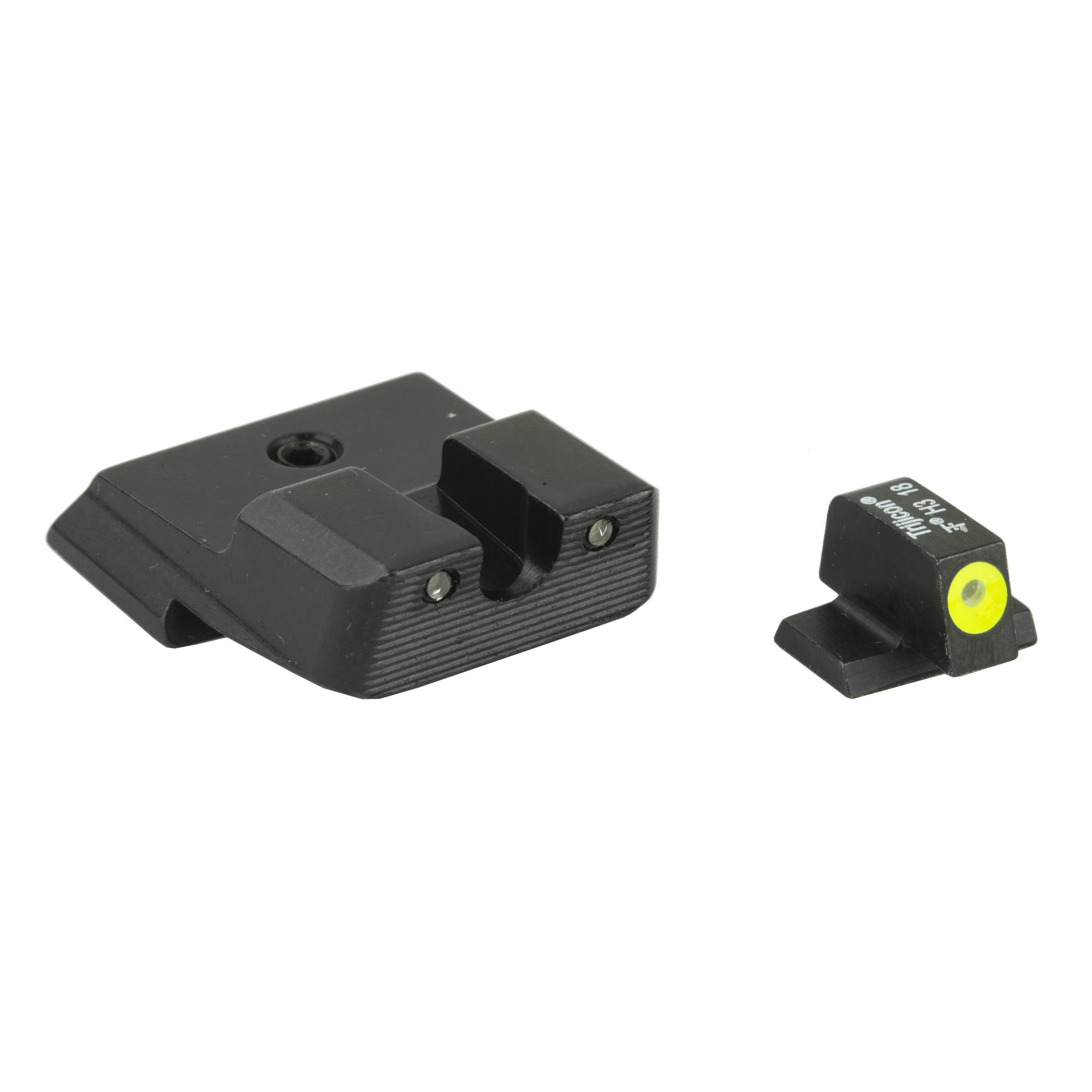 "S&W HD Night Sight Set - Yellow Front Outline: The HD Night Sights were specifically created to address the needs of tactical shooters. The three dot green tritium night sight set's front sight features a taller blade and an aiming point ringed in photoluminescent paint while the rear sight is outlined in black and features a wider U-shaped notch. This unique configuration increases visibility and quickens front sight acquisition-even in transitional lighting. Additionally"" the front surface of the rear sight is steeply hooked to assist in emergency one-handed slide operation. Green tritium lamps are warranted for 12 years from date of manufacture."