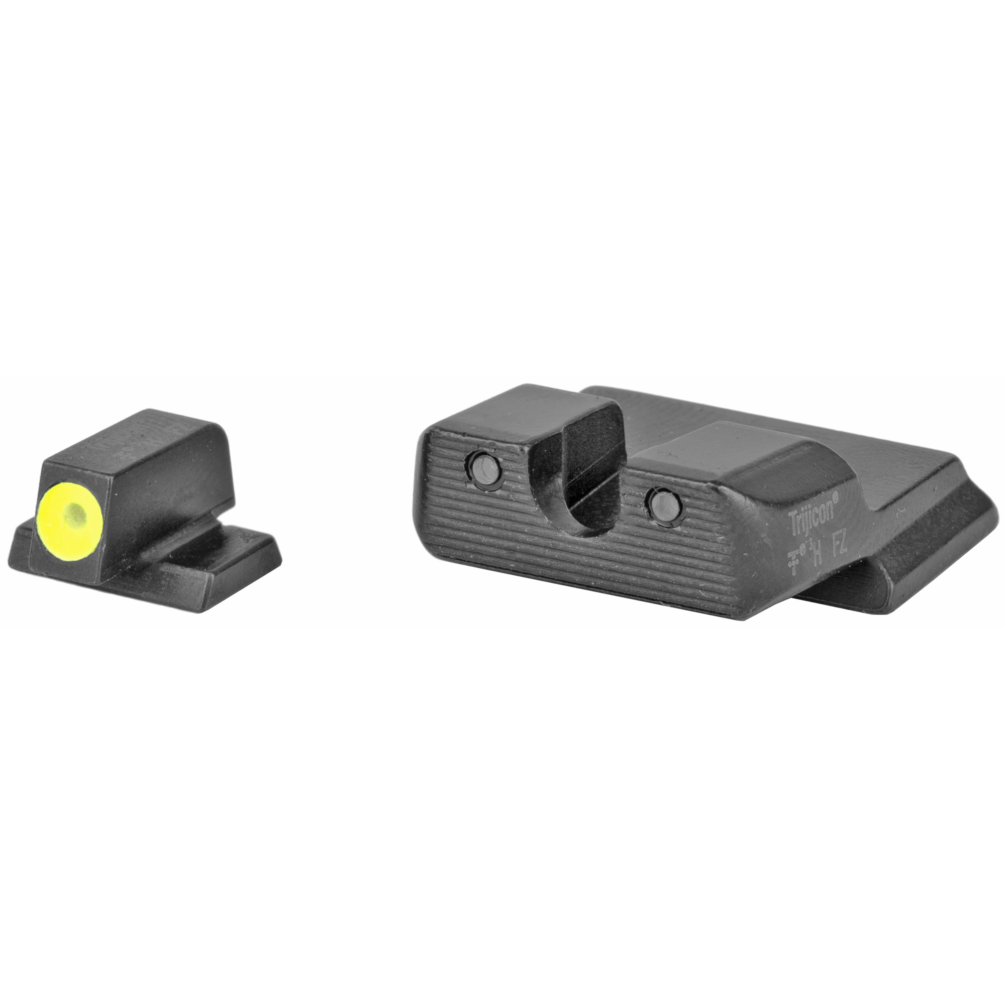 "S&W M&P Shield(TM) HD Night Sight Set - Yellow: The HD Night Sights were specifically created to address the needs of tactical shooters. The three dot green tritium night sight set's front sight features a taller blade and an aiming point ringed in photoluminescent paint while the rear sight is outlined in black and features a wider U-shaped notch. This unique configuration increases visibility and quickens front sight acquisition-even in transitional lighting. Additionally"" the front surface of the rear sight is steeply hooked to assist in emergency one-handed slide operation. Green tritium lamps are warranted for 12 years from date of manufacture."