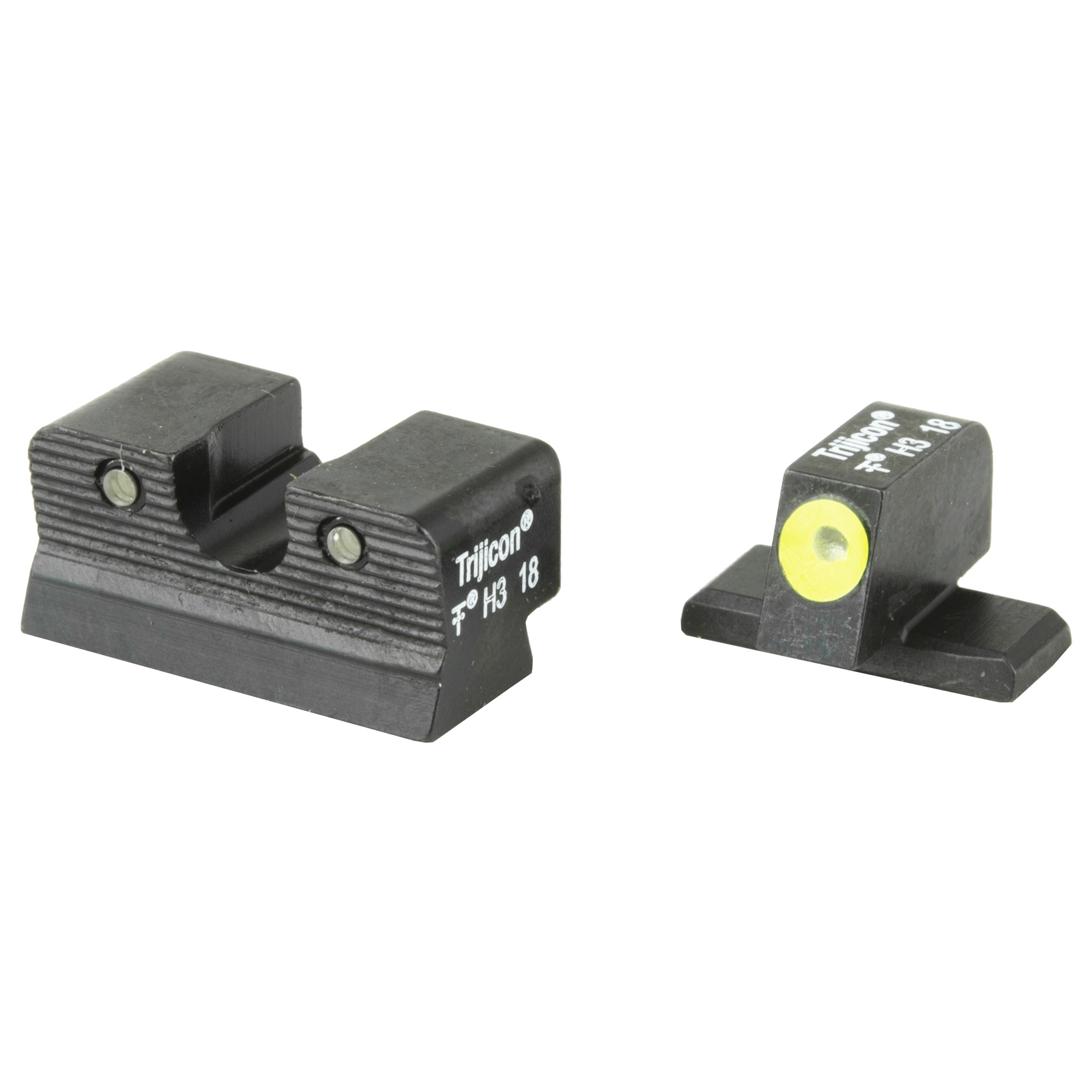The HD Night Sights were specifically created to address the needs of tactical shooters. The three dot green tritium night sight set's front sight features a taller blade and an aiming point ringed in photoluminescent paint while the rear sight is outlined in black and features a wider U-shaped notch. This unique configuration increases visibility and quickens front sight acquisition-even in transitional lighting.
