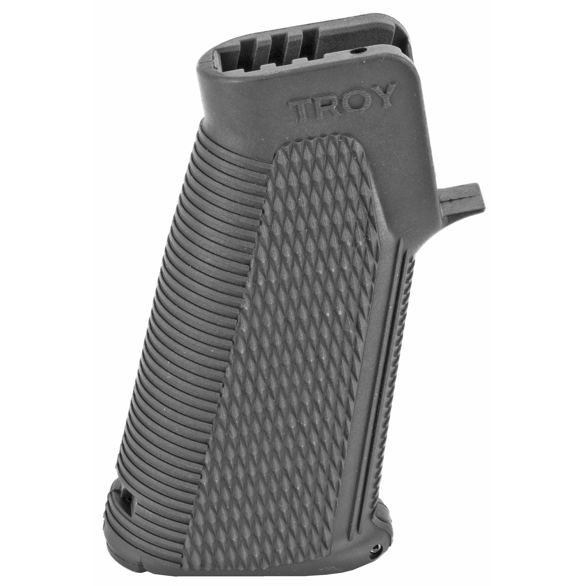 """Everything you want and need is in this ultimate grip. Featuring a refined grip angle"""" The Troy Control Grip sets your hand close to the receiver"""" leading your arm and shoulder into a proper shooting position. The aggressive scale pattern keeps the shooter's hand in place while the locking door creates a convenient storage compartment. Fitting all M4"""" M16/AR15 and FN SCAR rifles with the superior strength of rugged military-grade polymer"""" the Troy Control Grip is the perfect solution for Close Quarters Battle."""