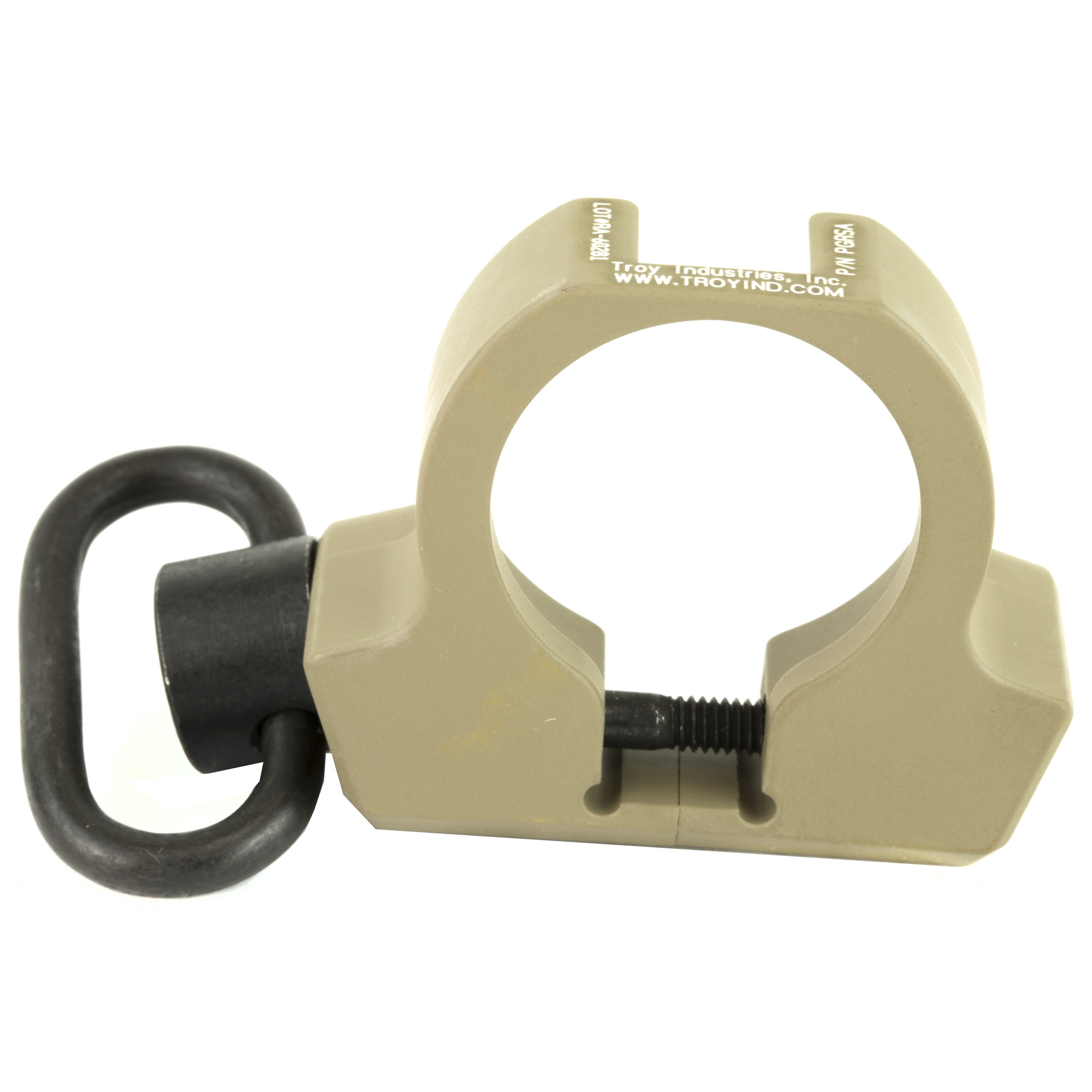 """The Pro Grade Rifle Sling Adapter enhances M4 stock reliability by sliding over the existing receiver extension"""" eliminating the chance of castle nut rotation. The Troy PGRSA allows the addition of an ambidextrous Q.D. swivel attachments without modifying the rifle. Constructed of hardened aircraft aluminum with a stainless push down button Q.D. swivel"""" this sling mount installs in less than two minutes with no gunsmithing required."""