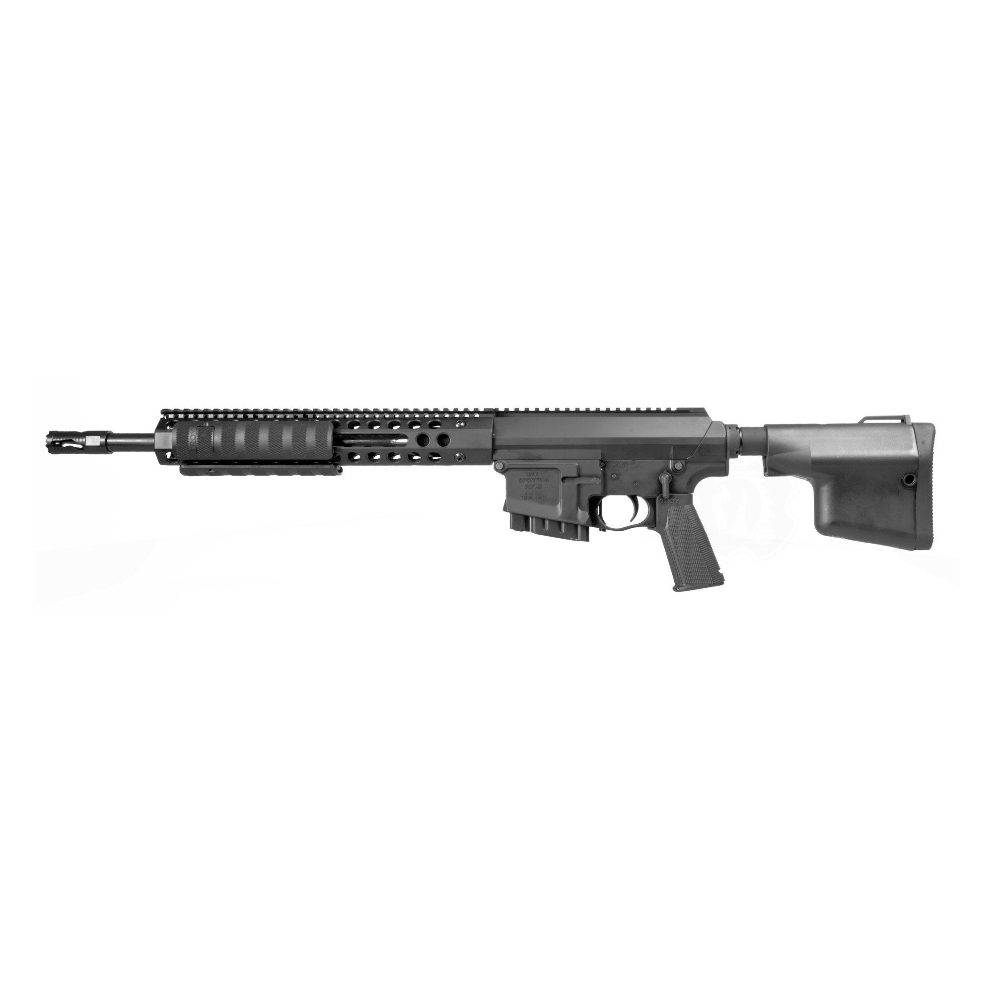 """Ergonomically sound and versatile"""" shooters will enjoy supreme accuracy and the dependability they have come to expect from TROY. The Optic Ready TROY Pump 308 features a TROY TRX2 Style Rail System and TROY Lightweight BattleAx CQB Stock."""
