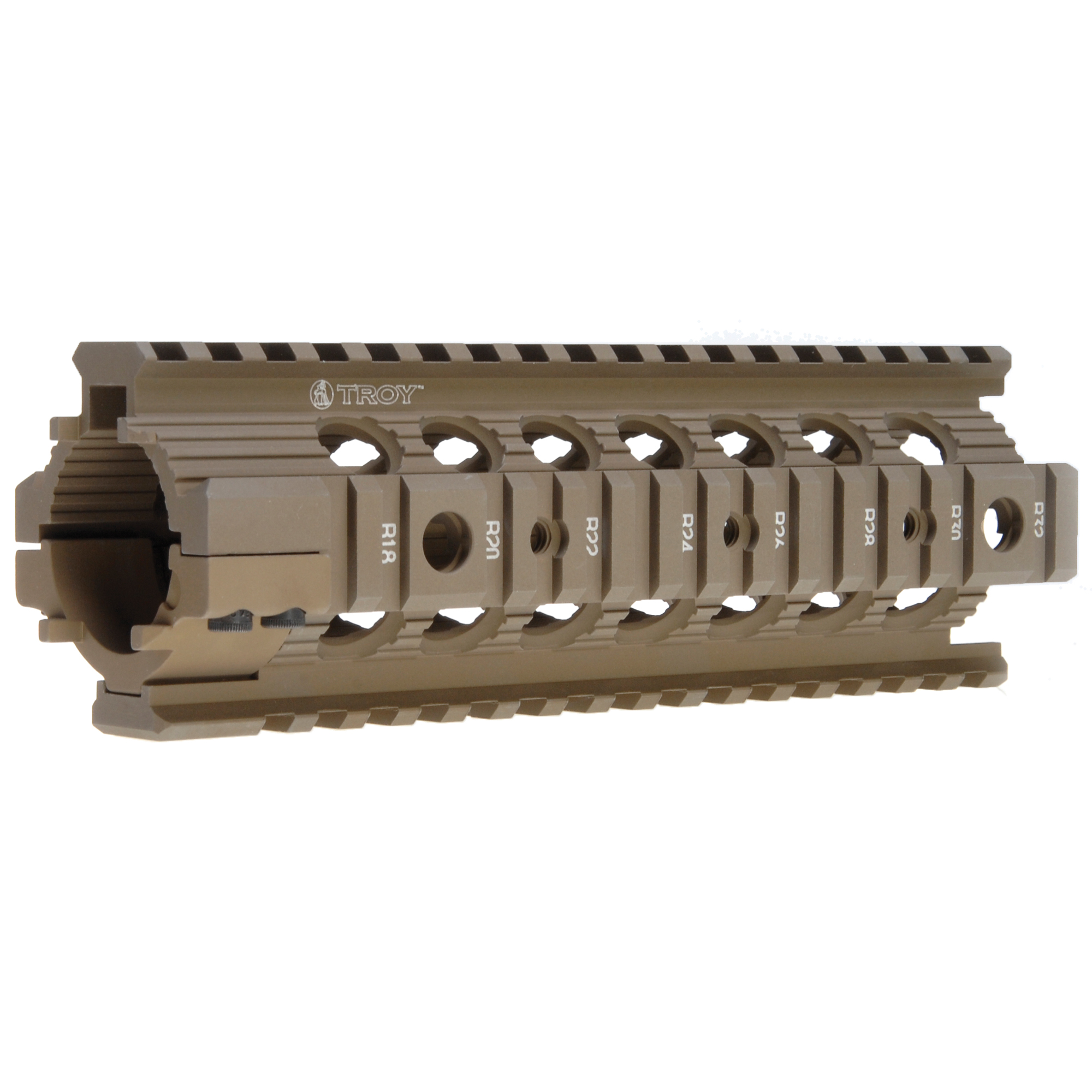 The Troy Drop-In Rail is a non free-floating direct replacement for all M4/AR15 Carbine length plastic hand guards with a round end plate. The Troy patented clamping design ensures a solid mounting platform and provides a true optical mounting platform that increases the modularity and accuracy of the M4.