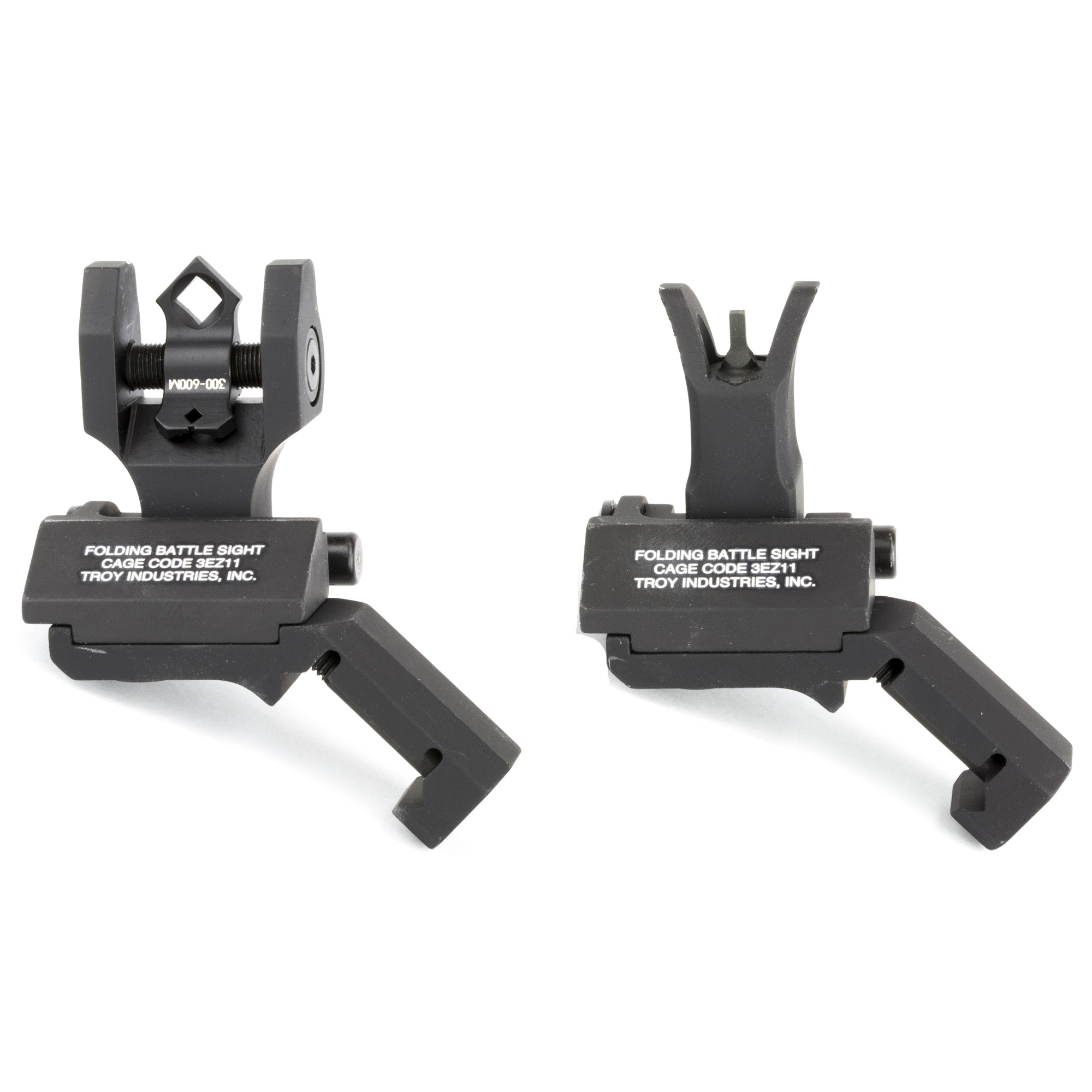 """Durability and dead-on accuracy have made Troy Industries Folding BattleSights the choice of Special Ops and tactical users worldwide. The TROY 45 Degree Folding BattleSights fold compactly to both sides of the rifle. With an ambidextrous sight base"""" TROY 45 Degree BattleSights work seamlessly with magnified optics. Easy to install and deploy"""" these sights position apertures at factory height. A stainless-steel cross-locking system ensures sight remains upright and zeroed under extreme combat conditions."""