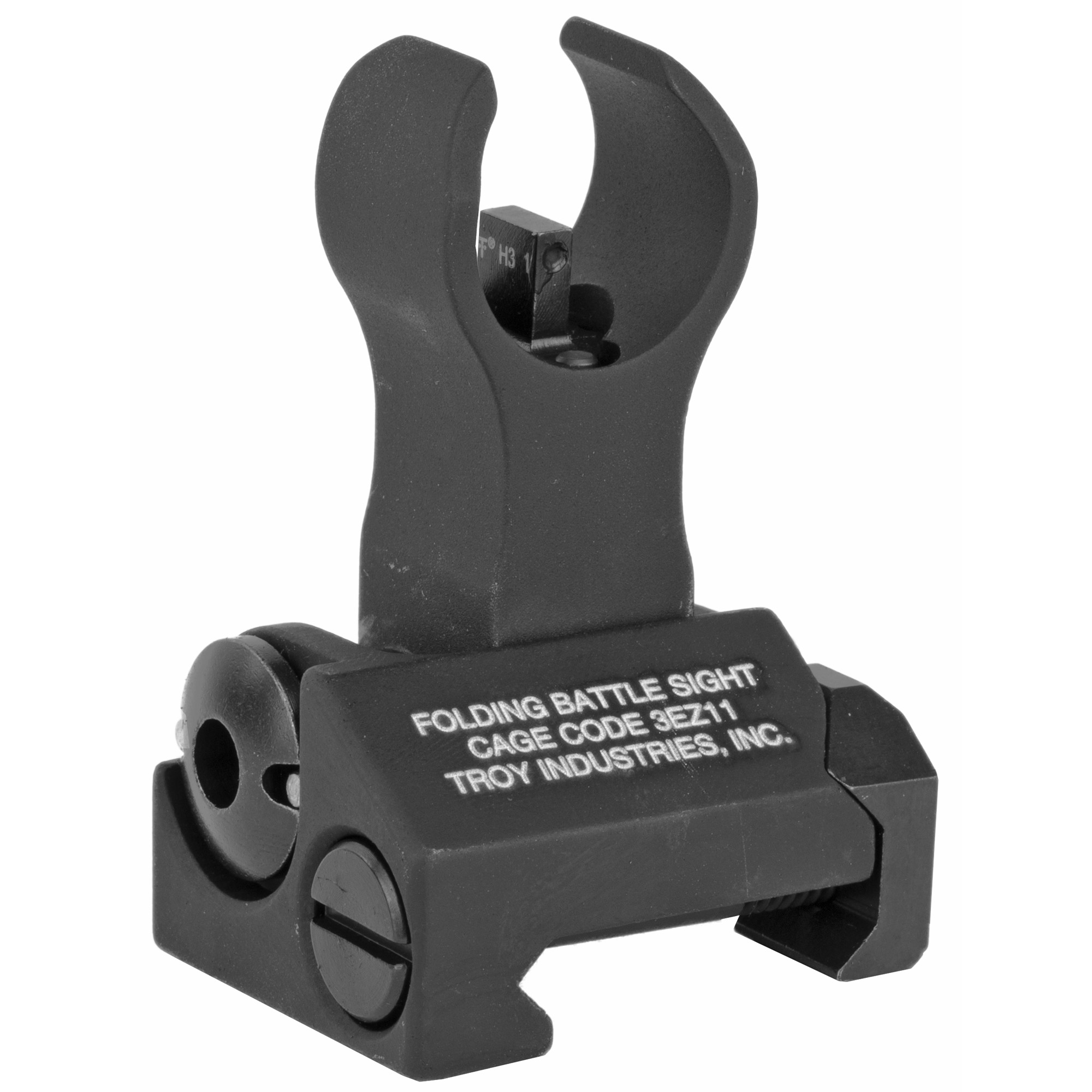 """Troy Industries' Tritium BattleSights(TM) are designed to eliminate the poor sight orientation that is typical in twilight. Tritium is a form of hydrogen that emits a continuous light source when batteries or electricity are not available. The front post is centered between two Tritium points of reference to allow proper alignment. Durability and dead-on accuracy make Troy BattleSights the hands-down first choice of Special Ops and Tactical Users Worldwide. Troy's HK Front Folding BattleSight is easy to install and deploy"""" with no levers or springs to fumble with. No tools required for adjustment."""