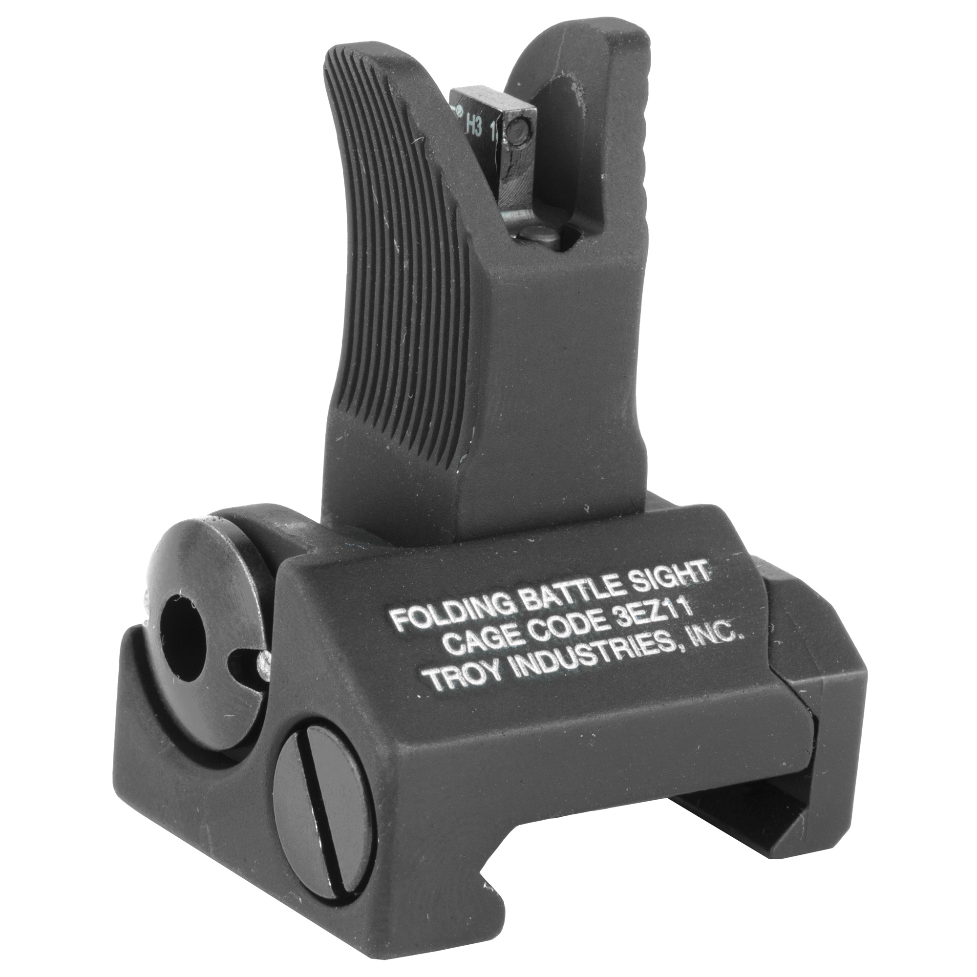 """Troy Industries' Tritium BattleSights(TM) are designed to eliminate the poor sight orientation that is typical in twilight. Tritium is a form of hydrogen that emits a continuous light source when batteries or electricity are not available. The front post is centered between two Tritium points of reference to allow proper alignment. Durability and dead-on accuracy make Troy BattleSights the hands-down first choice of Special Ops and Tactical Users Worldwide. Troy's M4 Front Folding BattleSight is easy to install and deploy"""" with no levers or springs to fumble with. No tools required for adjustment."""