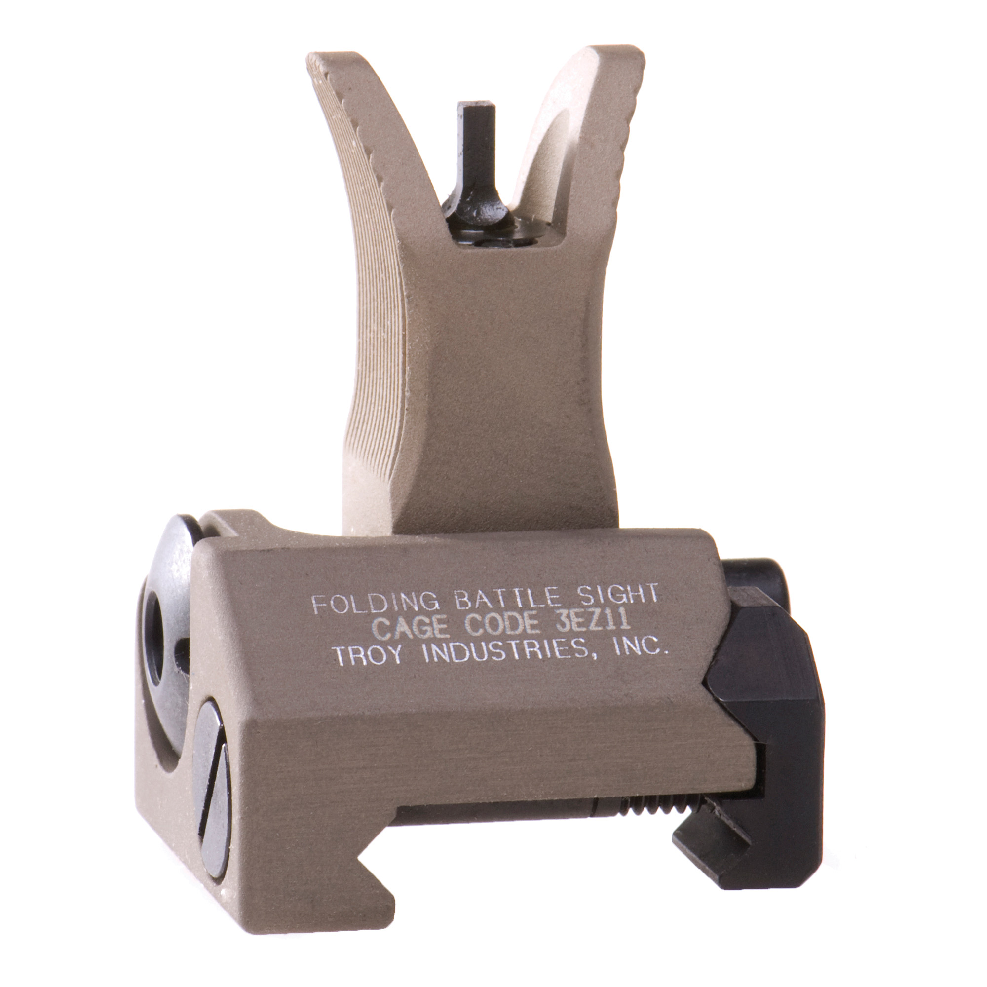 """Durability and dead-on accuracy make Troy BattleSights(TM) the hands-down first choice of Special Ops and Tactical Users Worldwide. Troy's M4 Front Folding BattleSight is easy to install and deploy"""" with no levers or springs to fumble with. No tools required for adjustment."""