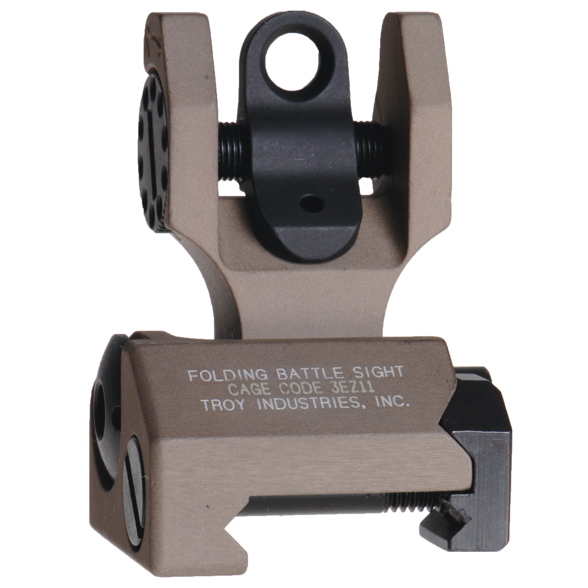 """Durability and dead-on accuracy make Troy BattleSights(TM) the hands-down first choice of Special Ops and Tactical Users Worldwide. Troy's Rear Folding BattleSight is easy to install and deploy"""" with no levers or springs to fumble with. No tools required for adjustment."""