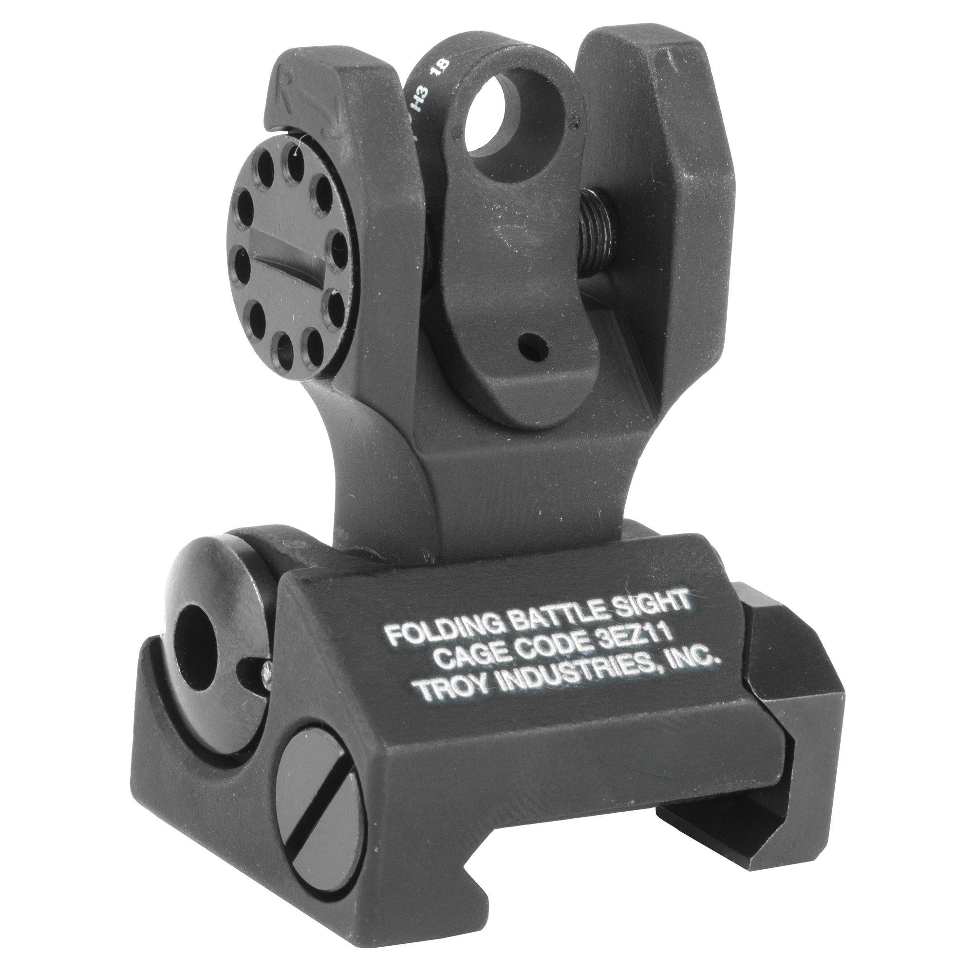 """Troy Industries' Tritium BattleSights(TM) are designed to eliminate the poor sight orientation that is typical in twilight. Tritium is a form of hydrogen that emits a continuous light source when batteries or electricity are not available. The front post is centered between two Tritium points of reference to allow proper alignment. Troy Rear Folding Tritium Sights"""" a permanent"""" rail-mounted alternative to a standard A2 sight"""" allow limitless mounting options on all-length rails with a serrated ramp to eliminate glare."""