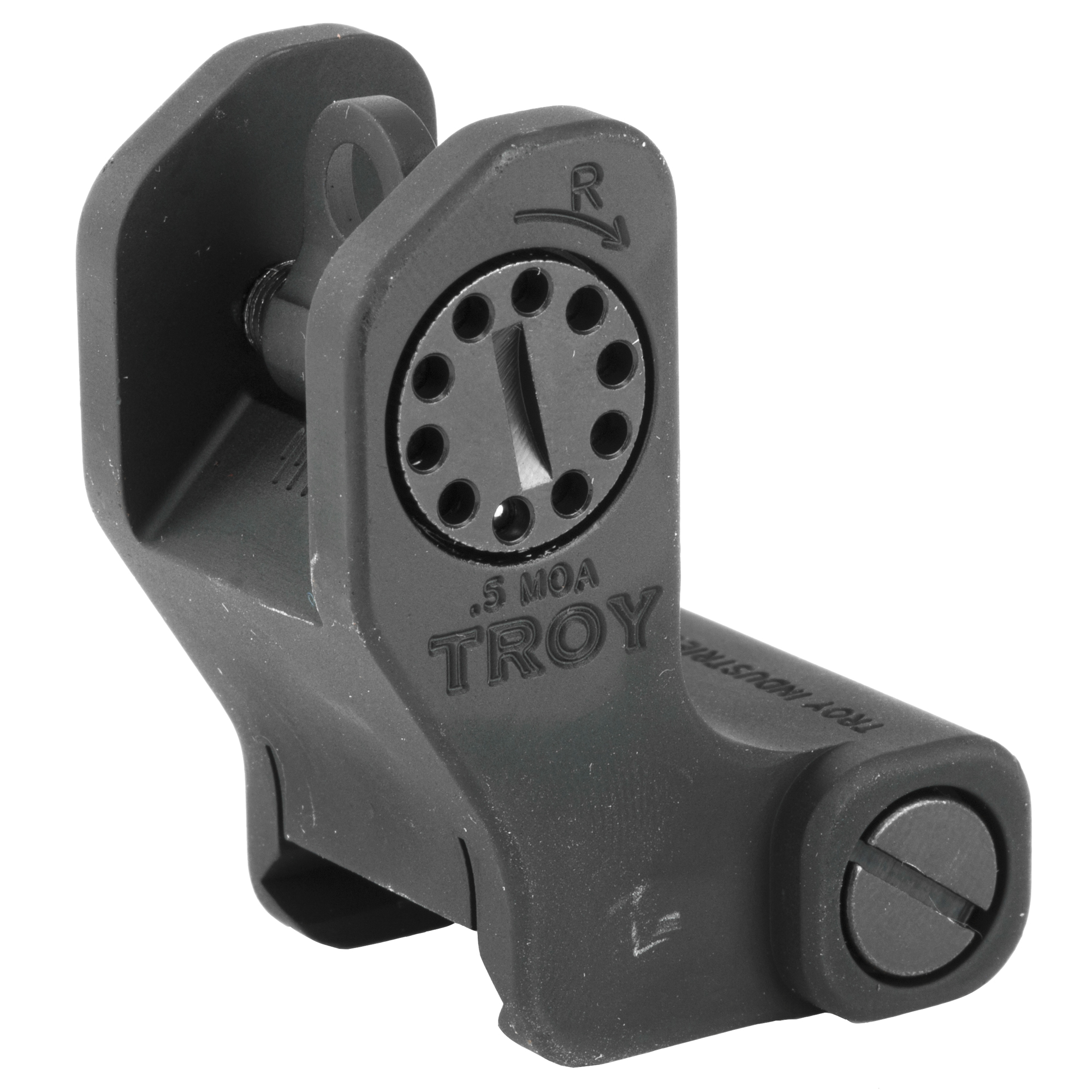 """""""Looking for rock solid stability and dead-on accuracy in a fixed sight? Troy Industries Fixed BattleSights(TM) get the job done. This permanent"""" rail-mounted alternative to a standard A2 sight allows limitless mounting options on all-length rails with a serrated ramp to eliminate glare. Provides a continuous zero"""" unflinching durability and peace of mind. The Troy Rear Fixed Rail Sight is designed to work on same plane rail systems only. Will not work with a railed gas block that is higher or lower than the receiver."""