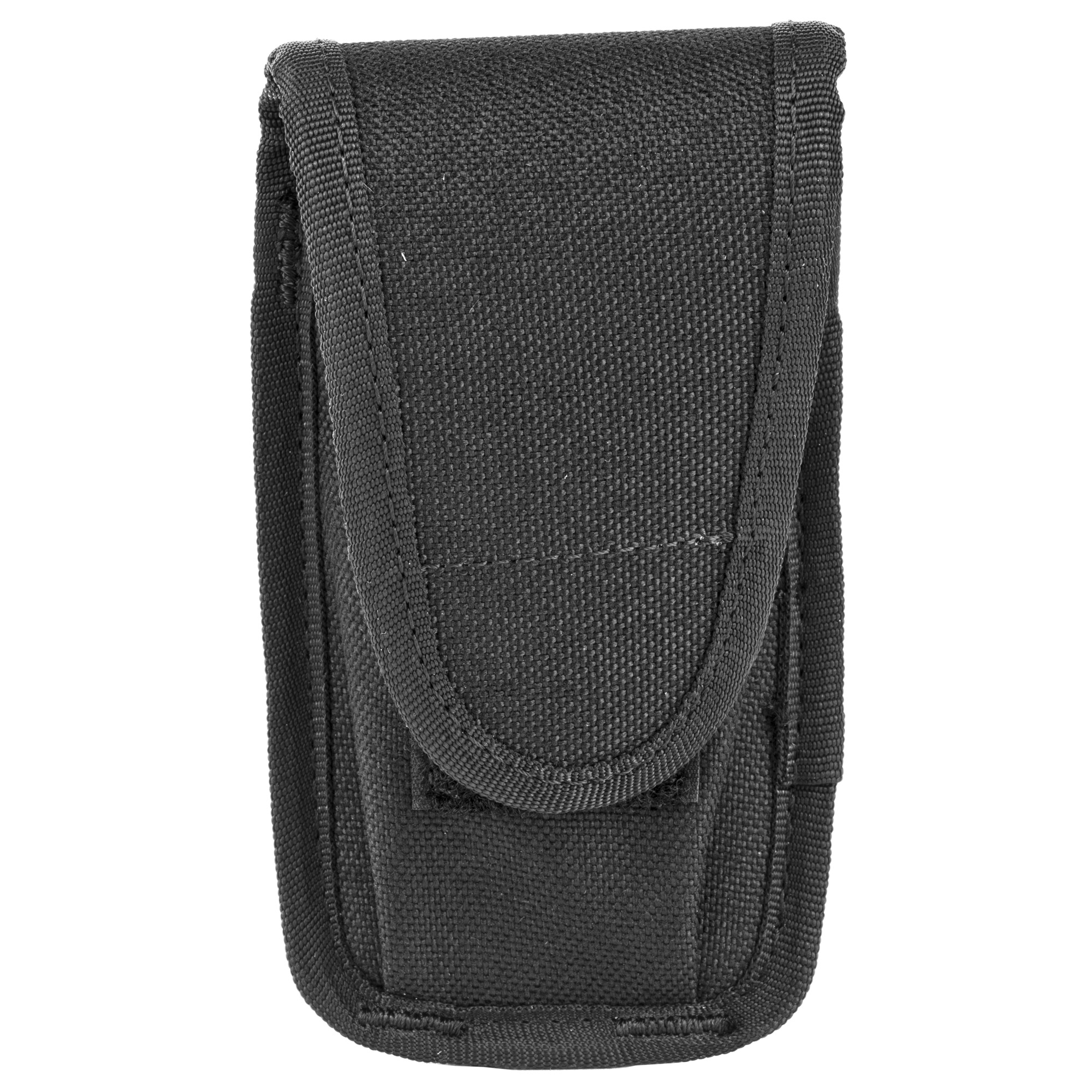 "This single magazine pouch fits most magazine sizes and clips to a dress belt. It can be used for horizontal or vertical carry. It will fit 9mm"" 40 S&W"" single row 10mm"" .45ACP metal mags and police type knives."