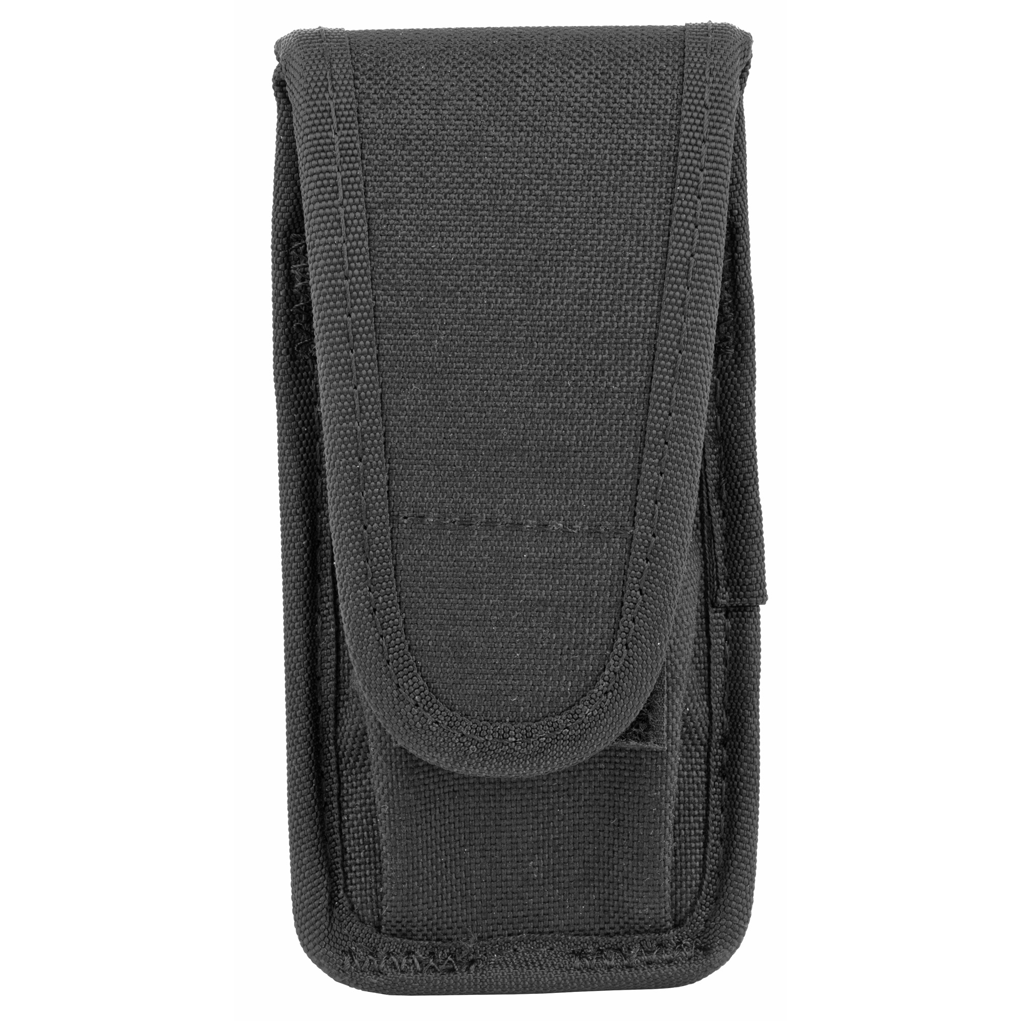 "This universal case will hold a single double stack magazine or a large folding knife. The hook and loop closure allows to adjust for the length of the magazine or knife"" and the rounded case edges won't catch on other duty belt gear. Fits most standard 9mm"" .40 S&W and .45 ACP magazines"