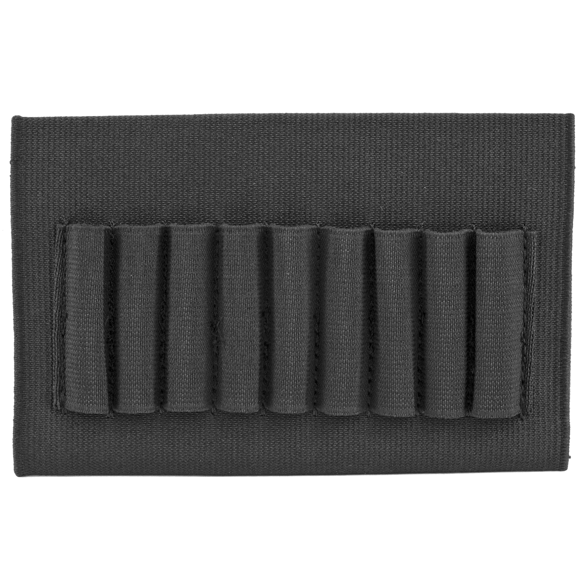 This open style rifle buttstock shell holder holds 9 cartridges. Elastic sleeve quickly secures over rifle and the sewn-on elastic loops keep nine rifle cartridges in place and organized.
