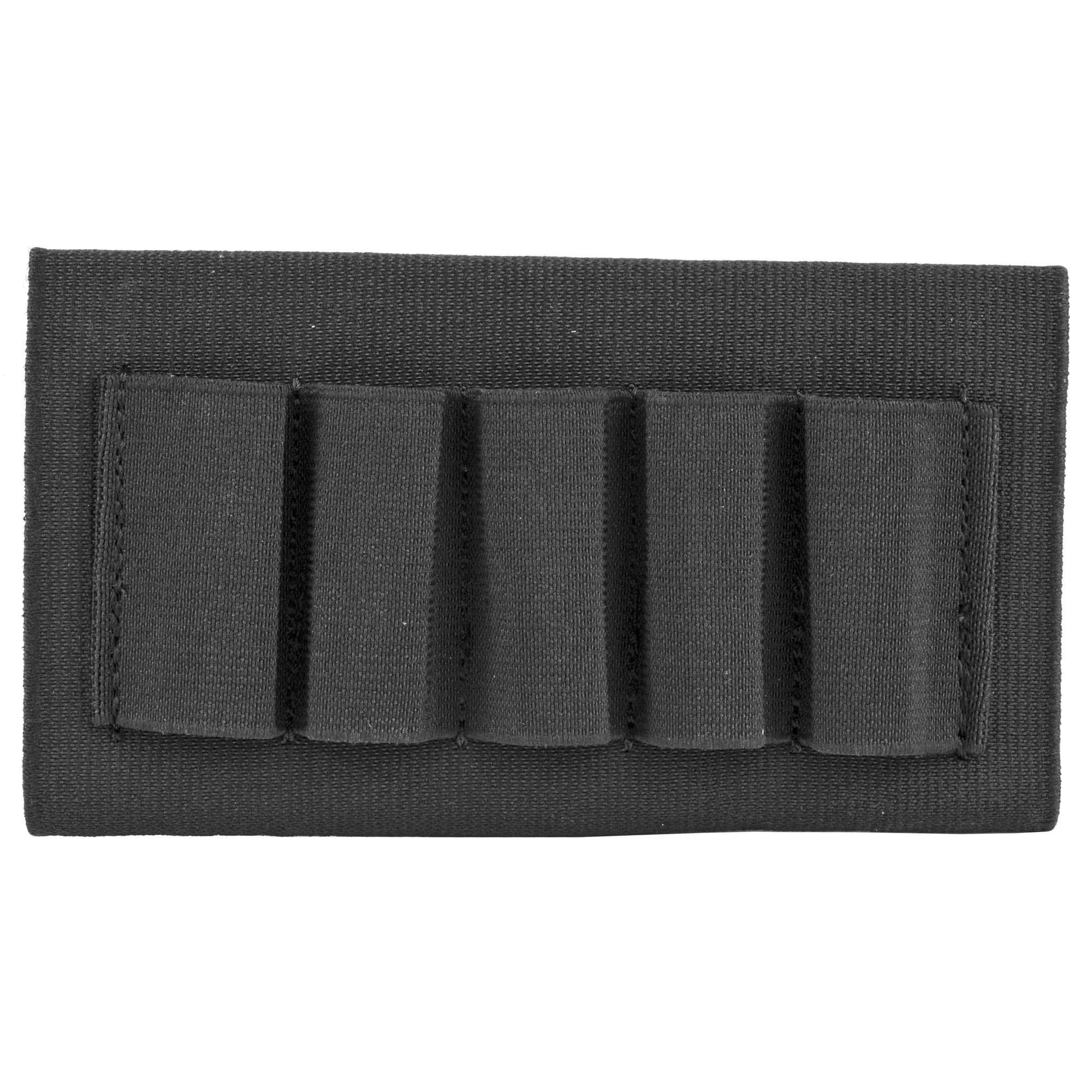 This open style shotgun buttstock shell holder holds 5 shells. Elastic sleeve quickly secures over shotgun and the sewn-on elastic loops keep 5 shotgun shells in place and organized.