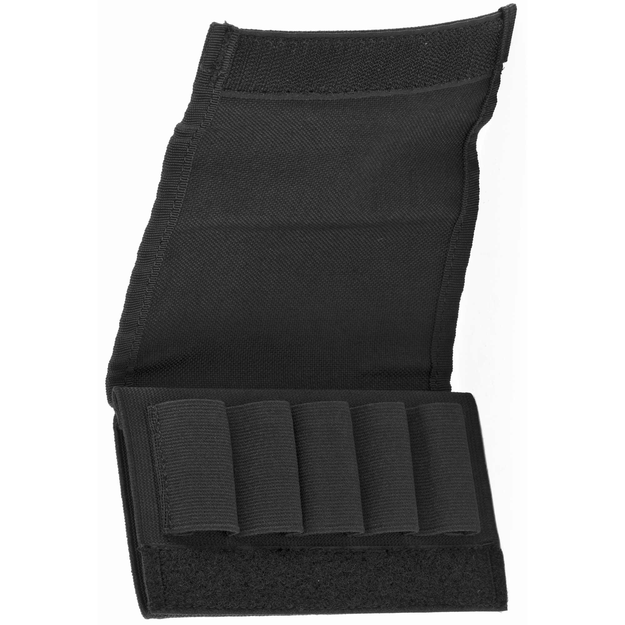 This flap style shotgun buttstock shell holder holds 5 shells. Elastic sleeve quickly secures over shotgun and the sewn-on elastic loops keep 5 shotgun shells in place and organized.