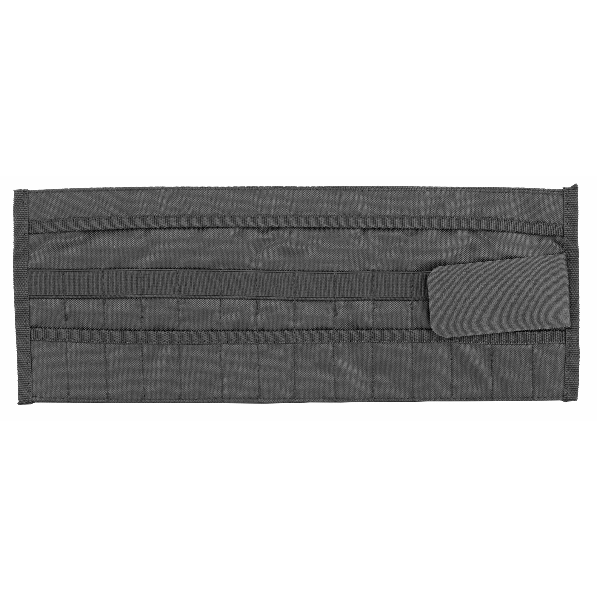 """This roll is perfect to carry your punches or other small Armorer's tools. This roll offers 14 individual pockets"""" a wide band of elastic for retention and small flap to secure contents. Roll the bag up and hook and loop fastener secures roll in travel. A must have for every Armorer and a perfect compliment to the Large Armorer's Roll or Armorer's Tool Case."""