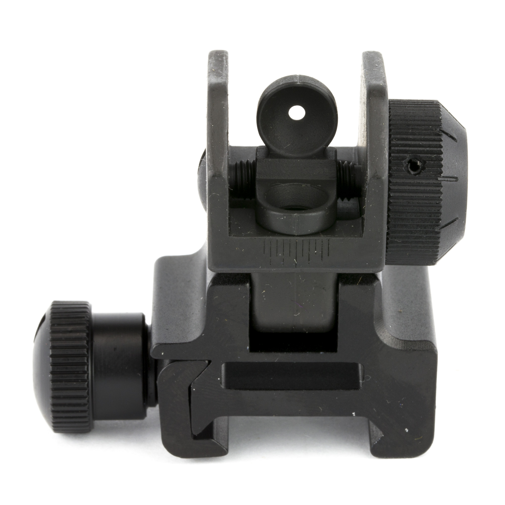 Leapers UTG Flip-up Tactical Rear Sight Complete with Dual Aiming Aperture MNT-951 fits all flat tops with an integrated Picatinny / Weaver mounting deck. Leapers UTG Tactical Flip-up Rear Sight locks in securely enough to withstand demanding conditions while retaining sight accuracy.
