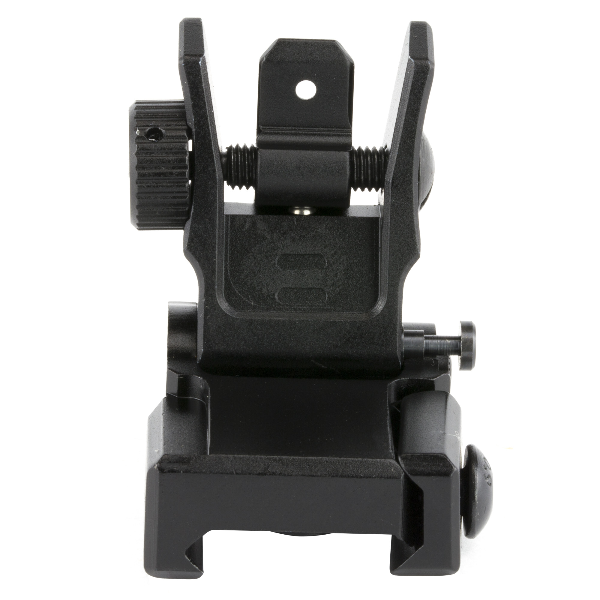 """The Leapers UTG Low Profile Dual Aiming Rear Sight is precision built from aircraft grade aluminum for superior durability"""" and a spring-loaded Posi-lock design with side plunger release allows for easy flipping and folding of the sight. These AR 15 Iron Sights by Leapers are equipped with a dual aiming aperture that not only boosts your accuracy during normal shooting"""" but is also ideal for moving target engagements as well as limited visibility shooting environments. Easily installed on a picatinny rail equipped AR platform"""" the Leapers UTG Flip-Up Dual Aiming Sight guarantees zero retention with a Posi-lock plunger coupled with spring activated ball bearings. Make your rear sight as important as your optic with the Leapers UTG Dual Aiming Rear Sight for AR."""