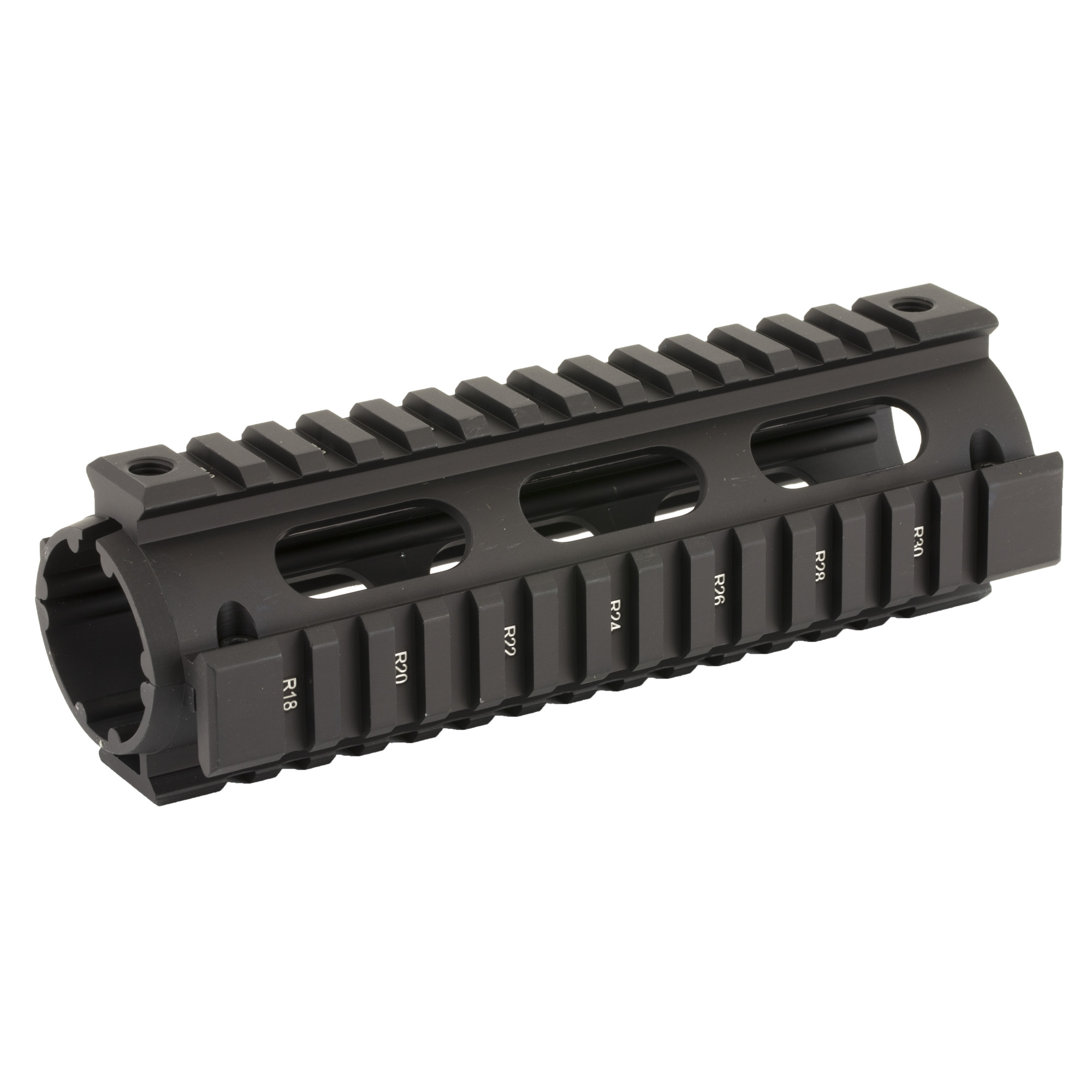 """Replace your original polymer AR-15 hand guard with a precision-machined quality aluminum drop in quad rail hand guard from Leapers UTG. This basic upgrade is easy enough for anyone to do while at the same time allowing you considerably more modularity over the stock hand guard. This drop in quad rail installs easily and quickly with no gunsmithing required and requires no permanent modification to the firearm. The quad rail sections conform to mil-spec picatinny rails allowing you to mount a whole host of accessories such as lights"""" lasers"""" foregrips and more. The drop in quad rail is made from high quality aluminum and features a durable hard coat anodized matte black finish."""