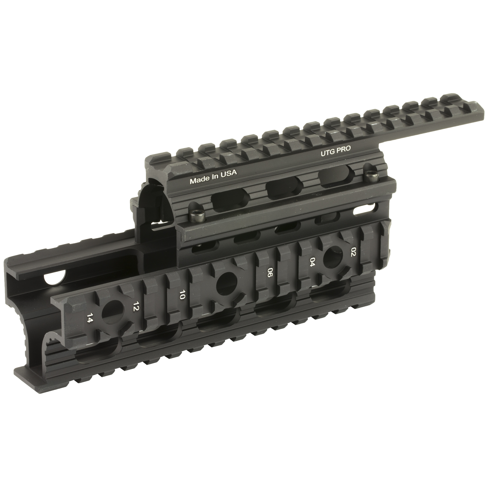 """The UTG Pro universal AK-47 quad rail handguard fits Romanian"""" Bulgarian"""" Chinese and US AK's and variants"""" including models with oversized barrel/rear sight block. There are four Mil-spec picatinny rails with integrated QD swivel housings on left/right rails for versatile accessory applications. Black rubber rail guards are included."""