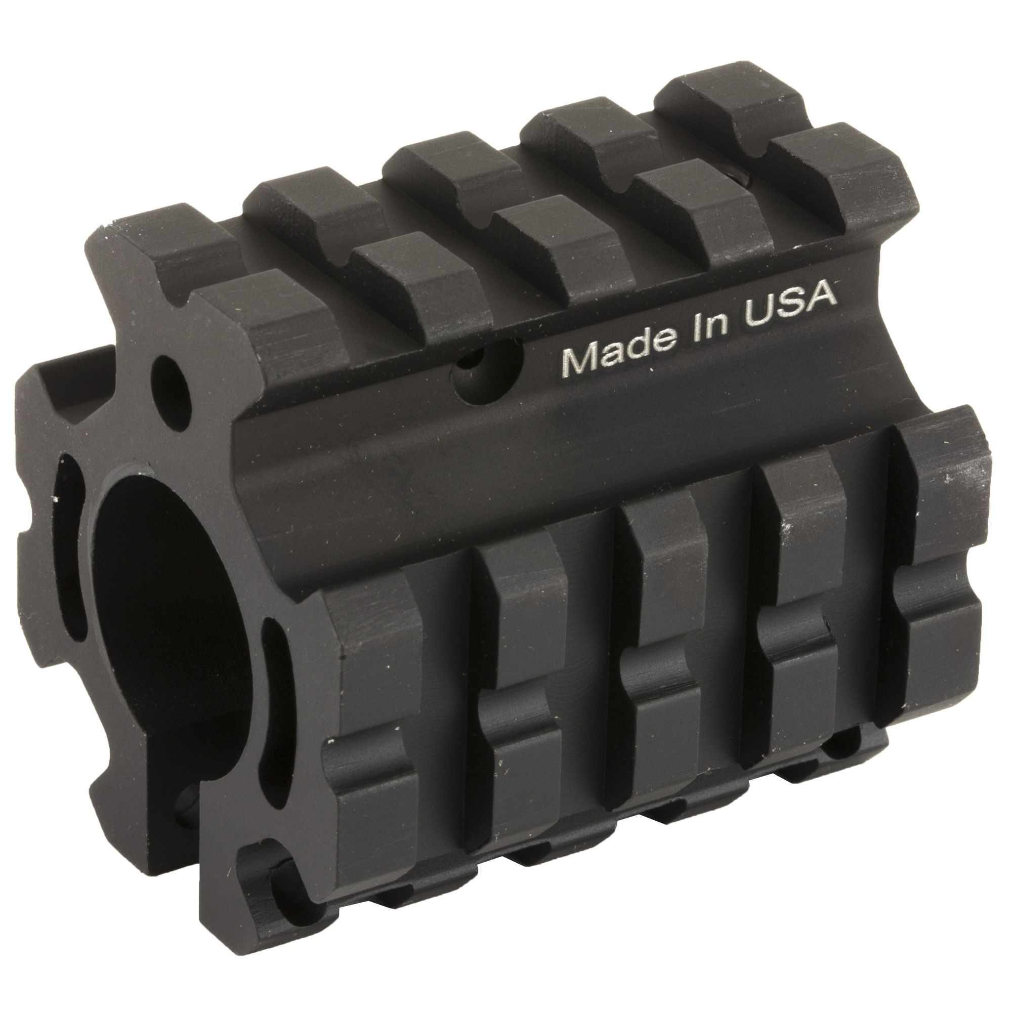 The UTG Pro Quad-Rail Gas Block replaces the A2 front sight and provides 4 Picatinny Rails. It Includes Gas Tube Roll Pin and Locking Screws.