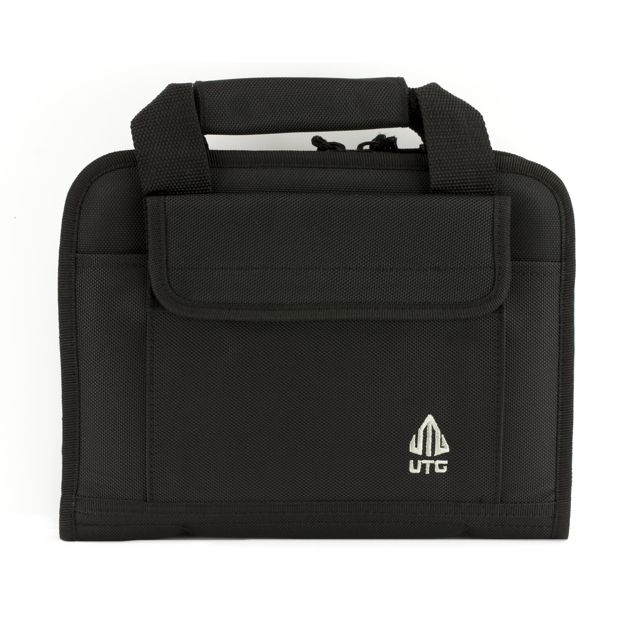 The UTG Homeland Security Deluxe Single Pistol Case features durable 1680D polyester construction and has five integral magazine pouches that fit most double and single stack magazines.