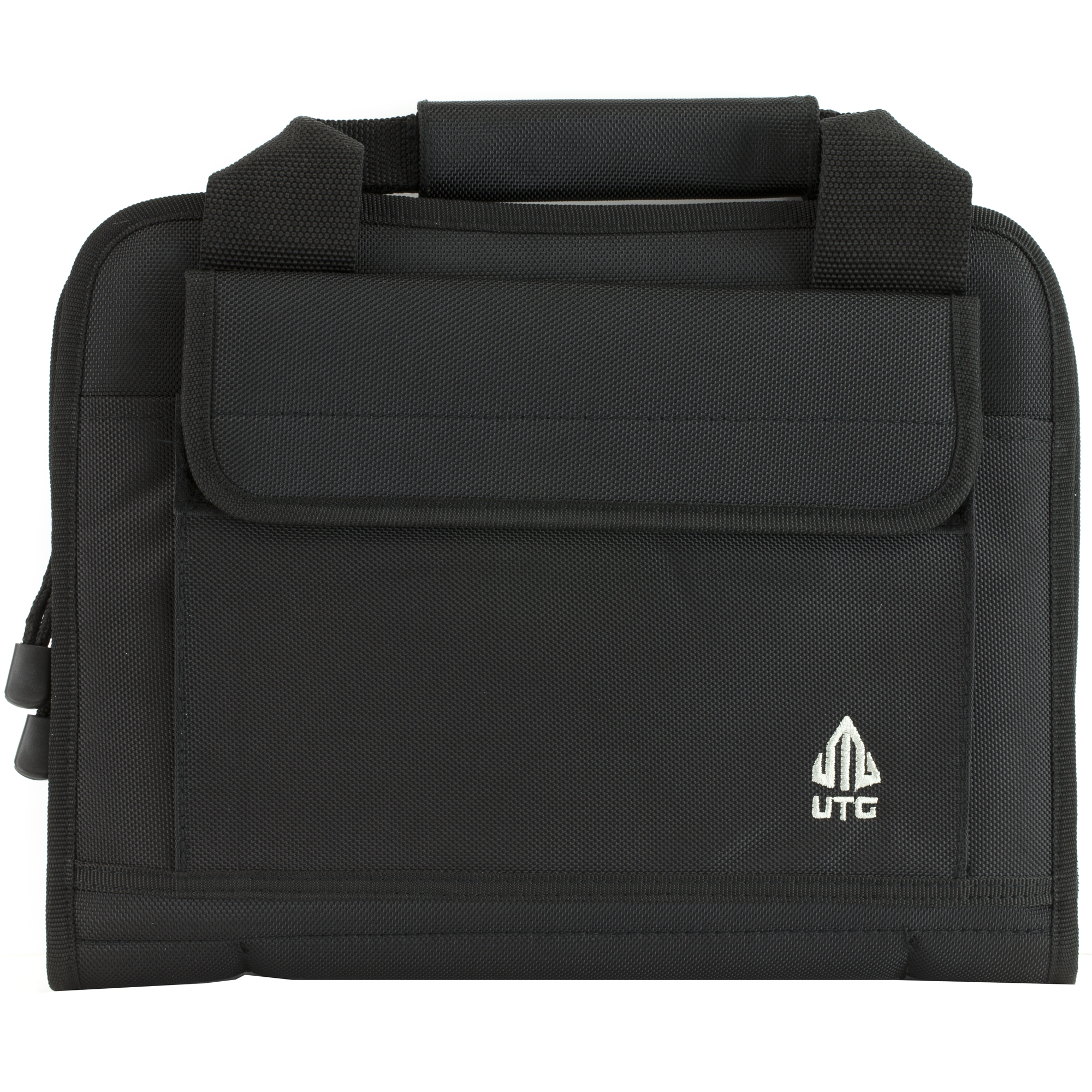 The UTG Homeland Security Deluxe Single Pistol Case features durable 1680D polyester construction and has six integral magazine pouches that fit most double and single stack magazines.