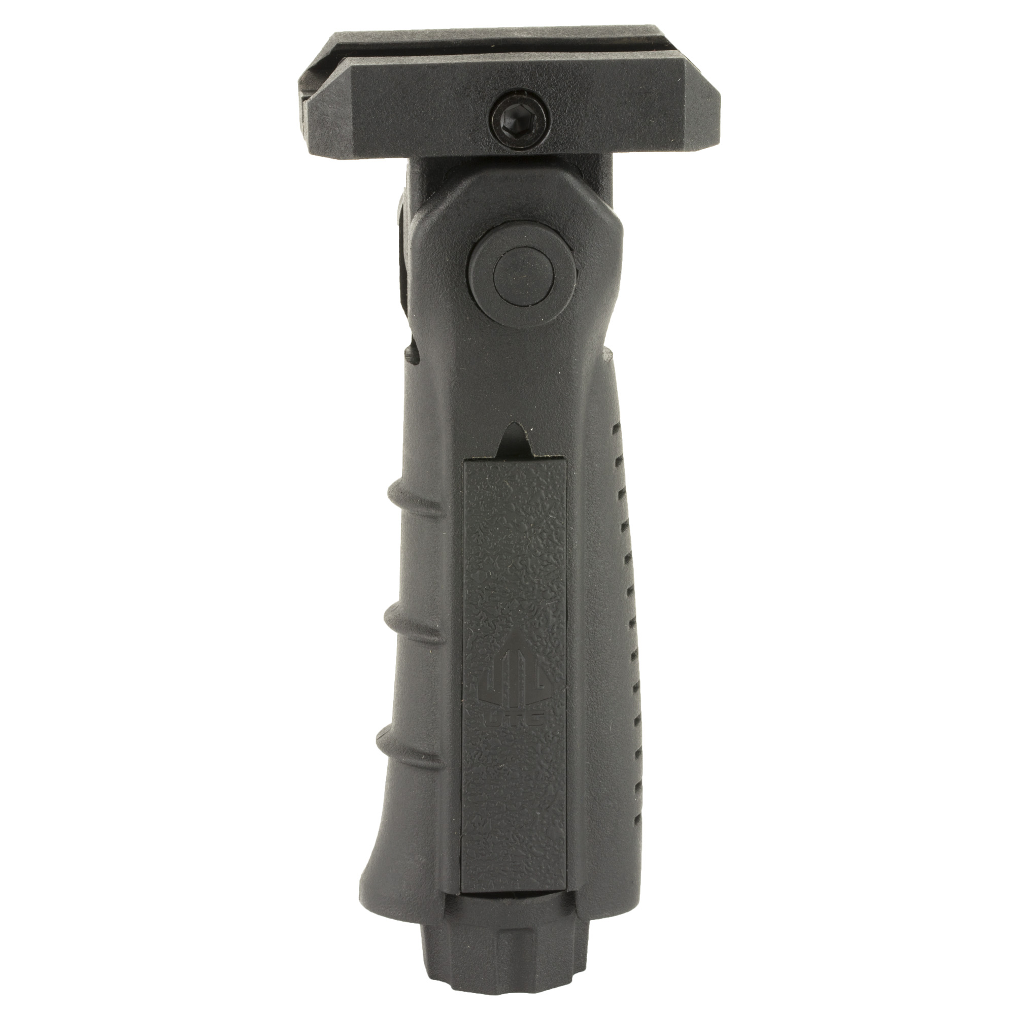 This UTG Model 4 Vertical Foregrip fits picatinny. It is a 5-position foldable foregrip with ergonomic finger grooves for a most comfortable grip. The practical side slide allows for ambidextrous use of the pressure pad insert and the clever end cap conceals the battery storage and controls grip mounting. It's picatinny mounting deck allows the foregrip to slide on and screw on tight.