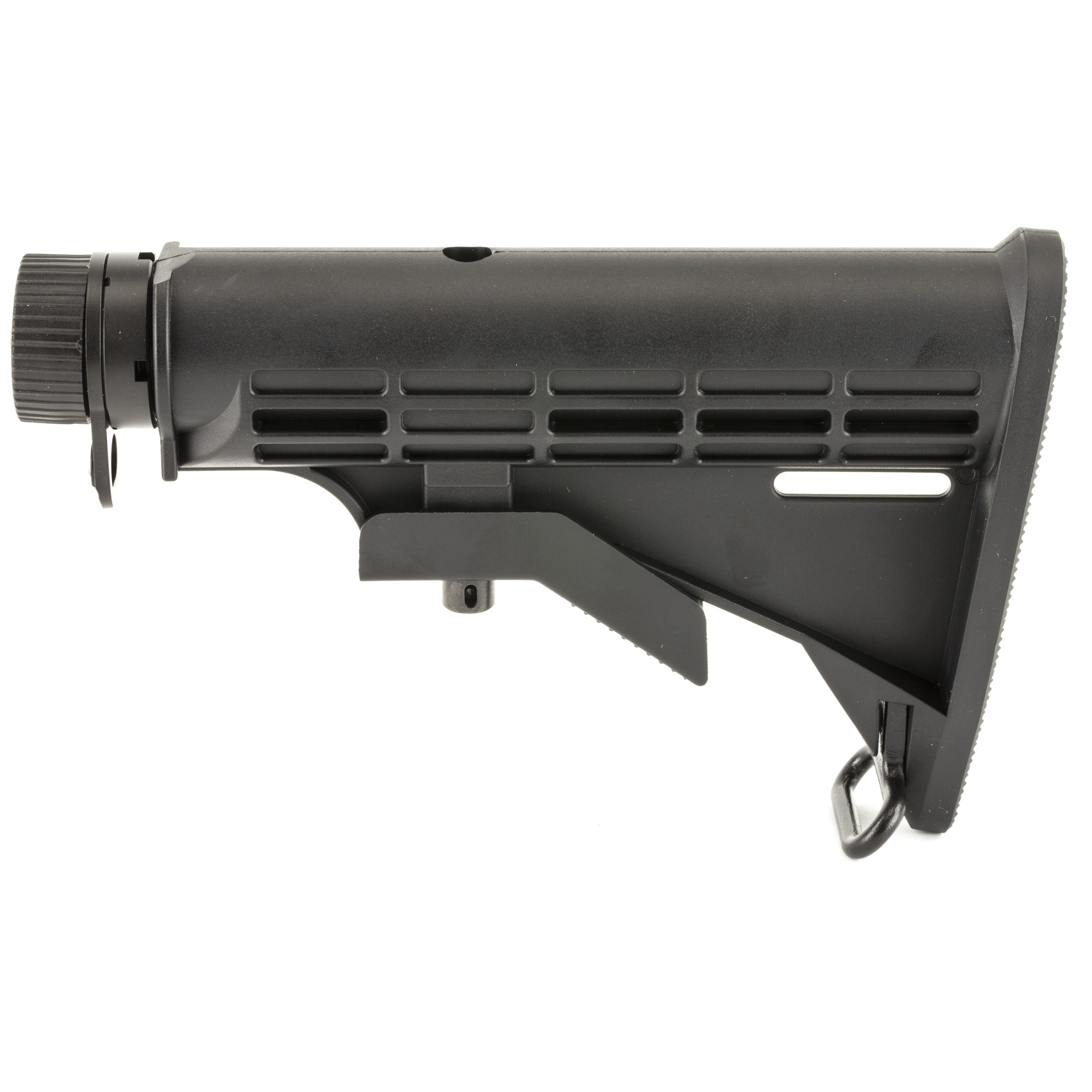 """The Leapers UTG PRO Model 4 MIL-SPEC 6-position collapsible AR-15 stock kit is precision machined to tight tolerances. The aluminum receiver extension provides shooters with six different lengths that allow you adjust your rifle for your body type-helping increase your weapon control"""" reaction time and accuracy. The high quality buffer tube-to-stock fitment ensures there is minimal wobble so that every time you mount your rifle you get a solid cheek weld. This Leapers stock assembly kit comes complete with a polymer stock"""" aluminum receiver extension"""" castle nut"""" locking plate"""" action spring and carbine buffer. Pick up a quality armorer's wrench and you will have everything you need to either convert your rifle from a fixed stock or install this collapsible stock on a new build."""
