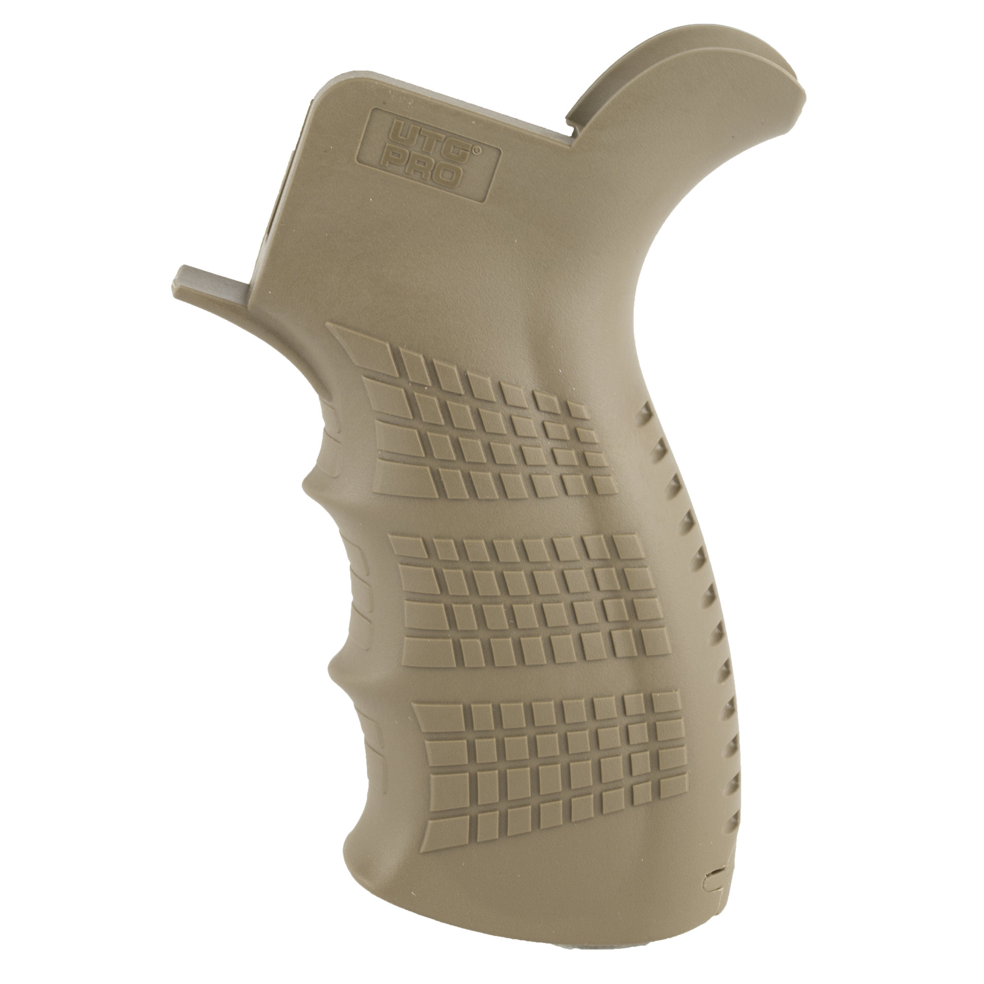 """This is the UTG Pro ambidextrous pistol grip for the AR-15. The ergonomic symmetrical palm swells reduce fatigue and improve handling comfort. Its nonslip textured beavertail"""" palm swells and finger grooves provide for a secure and repeatable grip. It features a built in storage compartment with a removable end cap for small parts"""" batteries and or other accessories."""