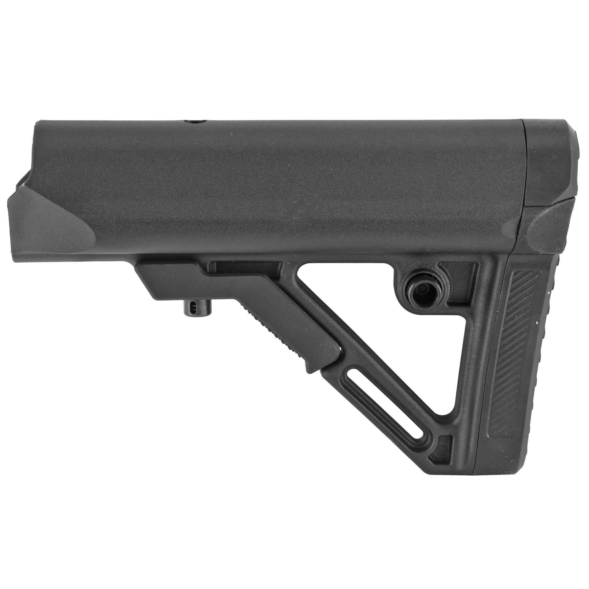"""The UTG PRO Model4 Combat Ops S1 Mil-Spec Butt Stock is a collapsible"""" AR/M4 style stock constructed of weather proof and rugged high impact polymer. This 6 position stock is designed for heavy duty operations and is made with the tightest tolerances for the most secure fit and silent performance. It has a thick rubberized recoil pad"""" reversible QD sling swivel housing"""" and an ambidextrous sling loop attachment. Chamfered edges and slanted cheek rest provide the comfort you're looking for."""
