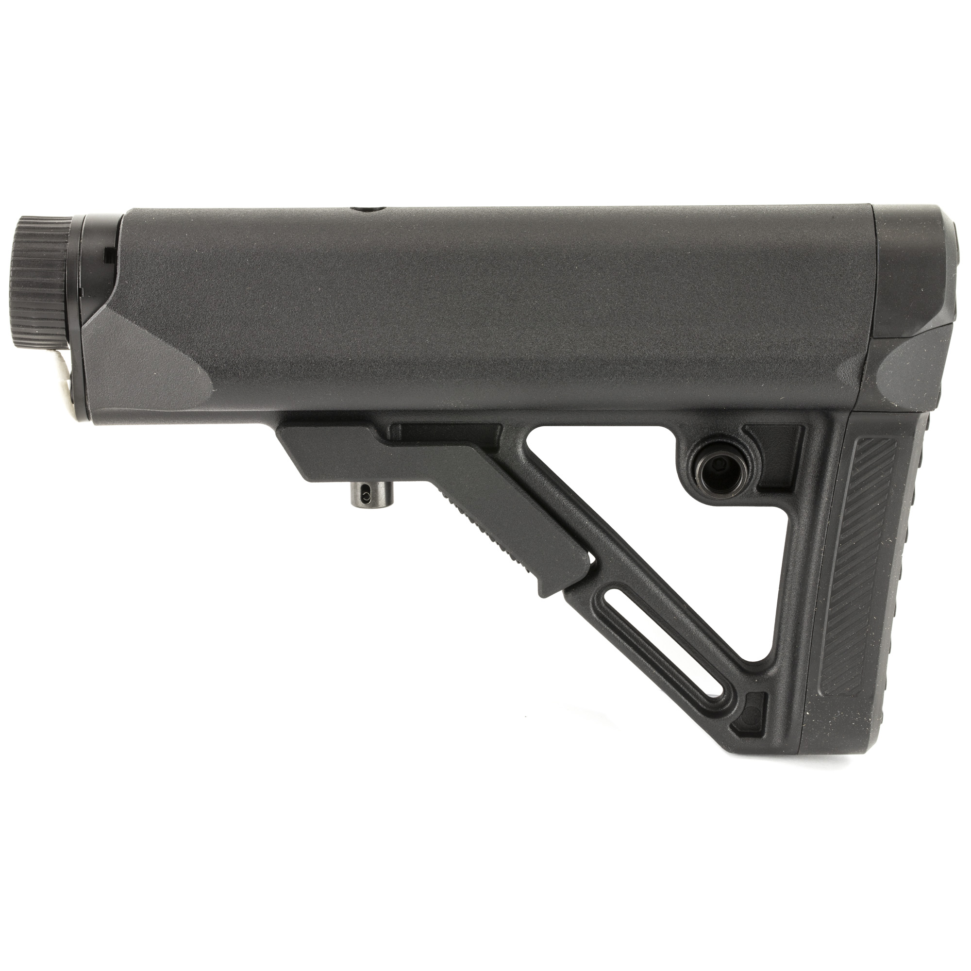 """The UTG PRO Model4 Combat Ops S1 Mil-Spec Butt Stock Kit is a collapsible"""" AR-15/M4 style stock constructed of weather proof and rugged high impact polymer. This six-position stock is designed for heavy duty operations and is made with the tightest tolerances for the most secure fit and silent performance. The rolled threads on the mil-spec buffer tube provide a precision fit for a rock solid mount. It has a thick rubberized recoil pad"""" reversible Quick Detach sling swivel housing"""" and an ambidextrous sling loop attachment. Chamfered edges and slanted cheek rest provide the comfort you're looking for. Upgrade your AR-15 platform rifle with the Model4 Combat Ops S1 Mil-Spec Butt Stock Kit from Leapers UTG."""