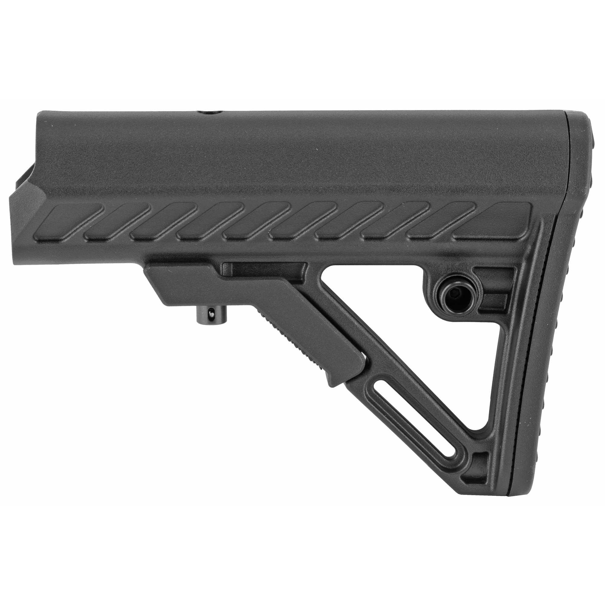 """The Leapers UTG AR-15 PRO Model 4 Ops Ready S2 Stock is molded from high impact reinforced polymer materials. It features an ergonomically chamfered rubberized butt pad and a slanted cheek rest that enhances shooting stability and consistent firearm control. The Mil-Spec stock has an integral sling loop and ambidextrous QD sling swivel housing. Lightweight and super slim"""" the stock has fully dehorned corners and melted contours for snag-free use."""