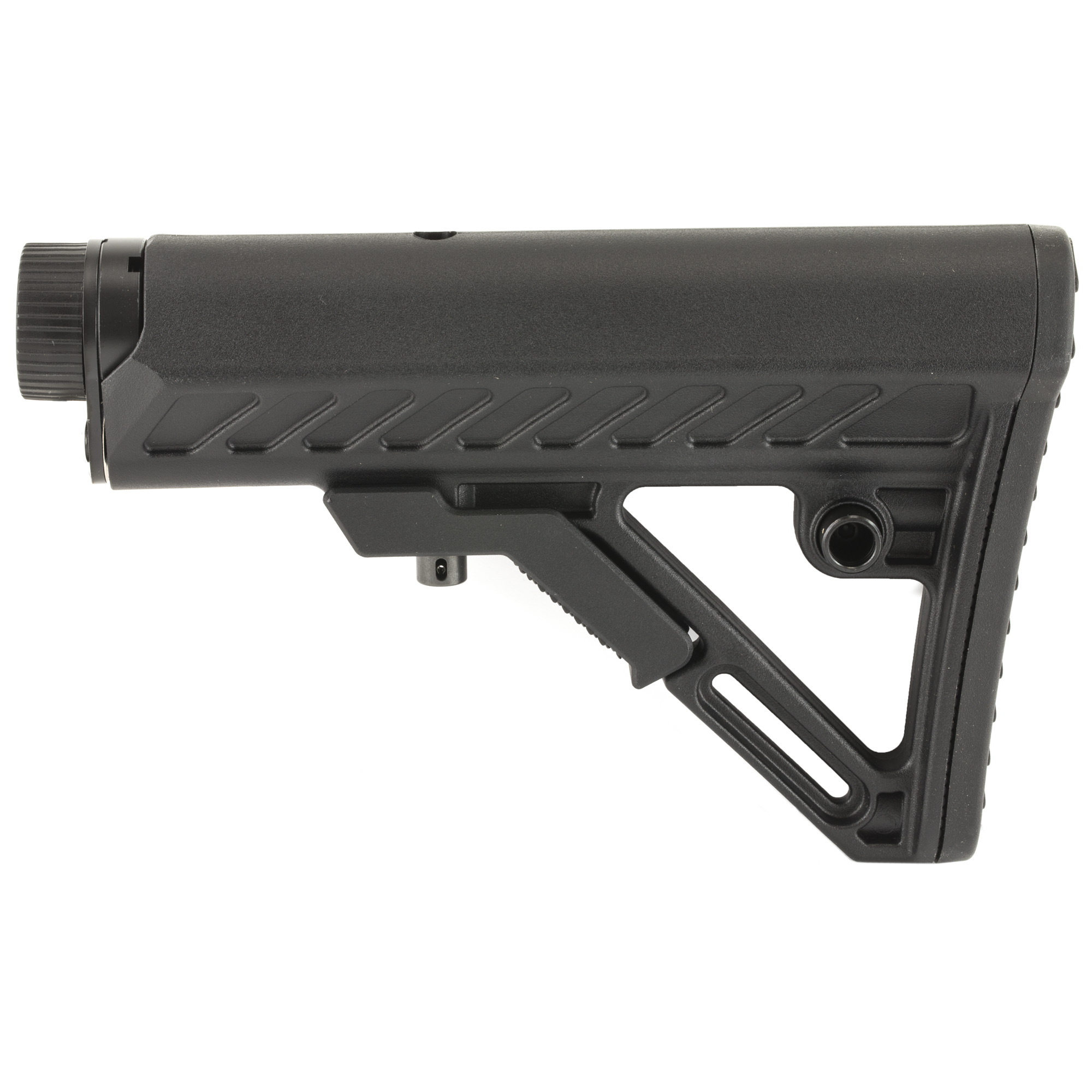 """The Leapers UTG AR-15 PRO Model 4 Ops Ready S2 Stock is molded from high impact reinforced polymer materials. It features an ergonomically chamfered rubberized butt pad and a slanted cheek rest that enhances shooting stability and consistent firearm control. The stock has an integral sling loop and ambidextrous QD sling swivel housing. Lightweight and super slim"""" the stock has fully dehorned corners and melted contours for snag-free use. This kit includes a Mil-Spec receiver extension tube machined from aircraft aluminum with proper Mil-Spec rolled threads. The tube is hard coat anodized for corrosion and wear resistance."""