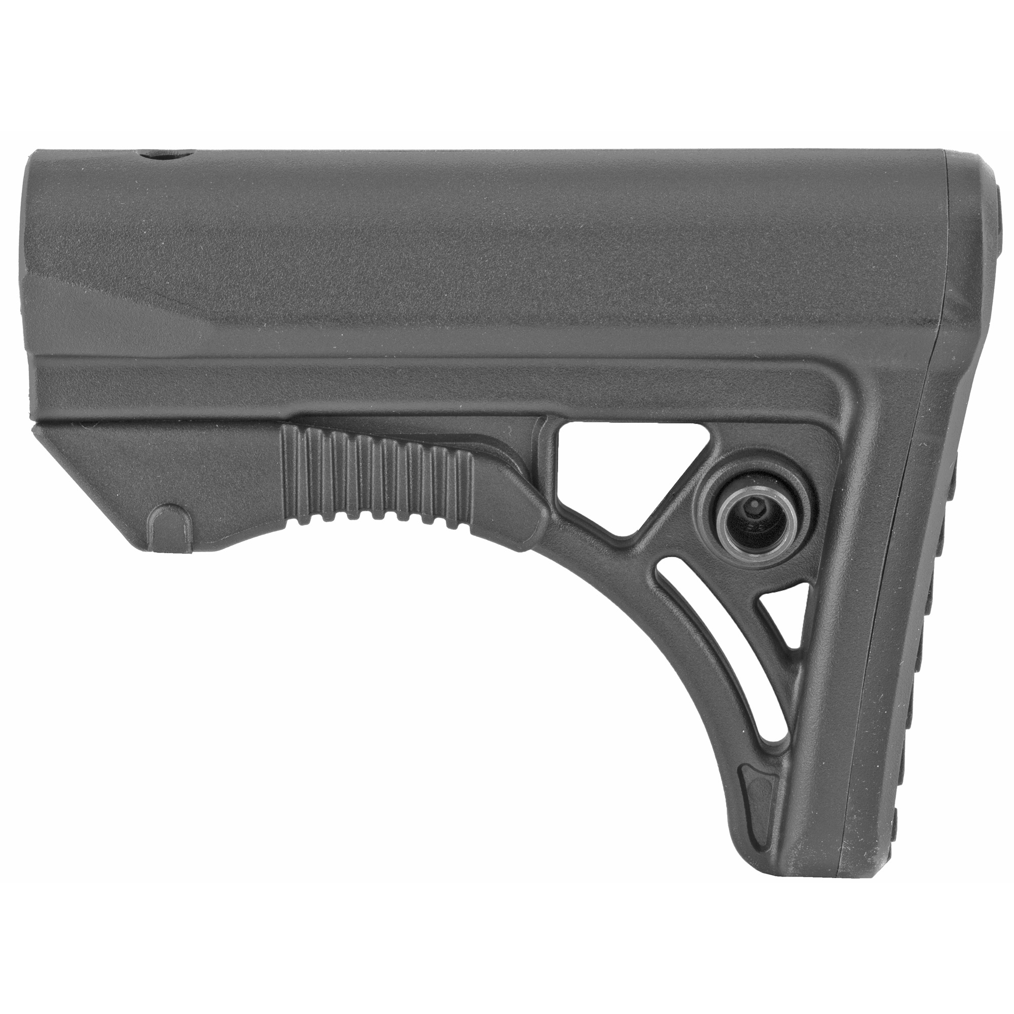 The Leapers UTG AR-15 PRO Model 4 Ops Ready S3 Stock is molded from high impact reinforced polymer materials. It features an ergonomically chamfered rubberized butt pad and a slanted cheek rest that enhances shooting stability and consistent firearm control. The stock has an integral ambidextrous sling loop and ambidextrous QD sling swivel housing for left or right handed shooters. The stock has fully dehorned corners and melted contours for snag-free use. Includes polymer stock only