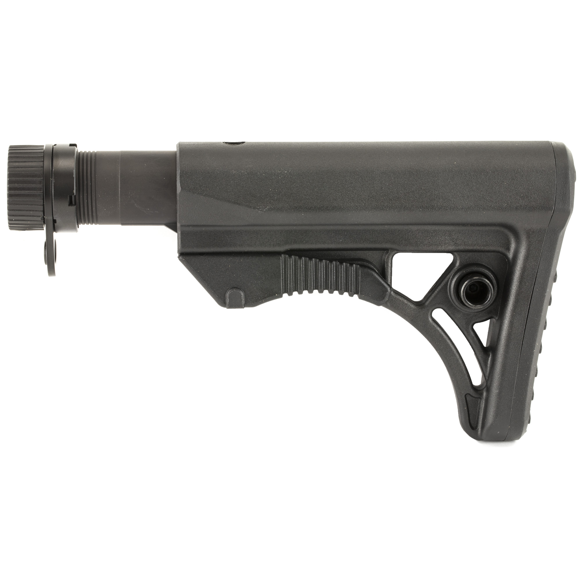 """The Leapers UTG AR-15 PRO Model 4 Ops Ready S3 Stock is molded from high impact reinforced polymer materials. It features an ergonomically chamfered rubberized butt pad and a slanted cheek rest that enhances shooting stability and consistent firearm control. The stock has an integral ambidextrous sling loop and ambidextrous QD sling swivel housing for left or right handed shooters. The stock has fully dehorned corners and melted contours for snag-free use. This kit includes a polymer stock"""" mil-spec 6-position extension tube"""" buffer"""" buffer spring"""" tear-drop ring and castle nut."""