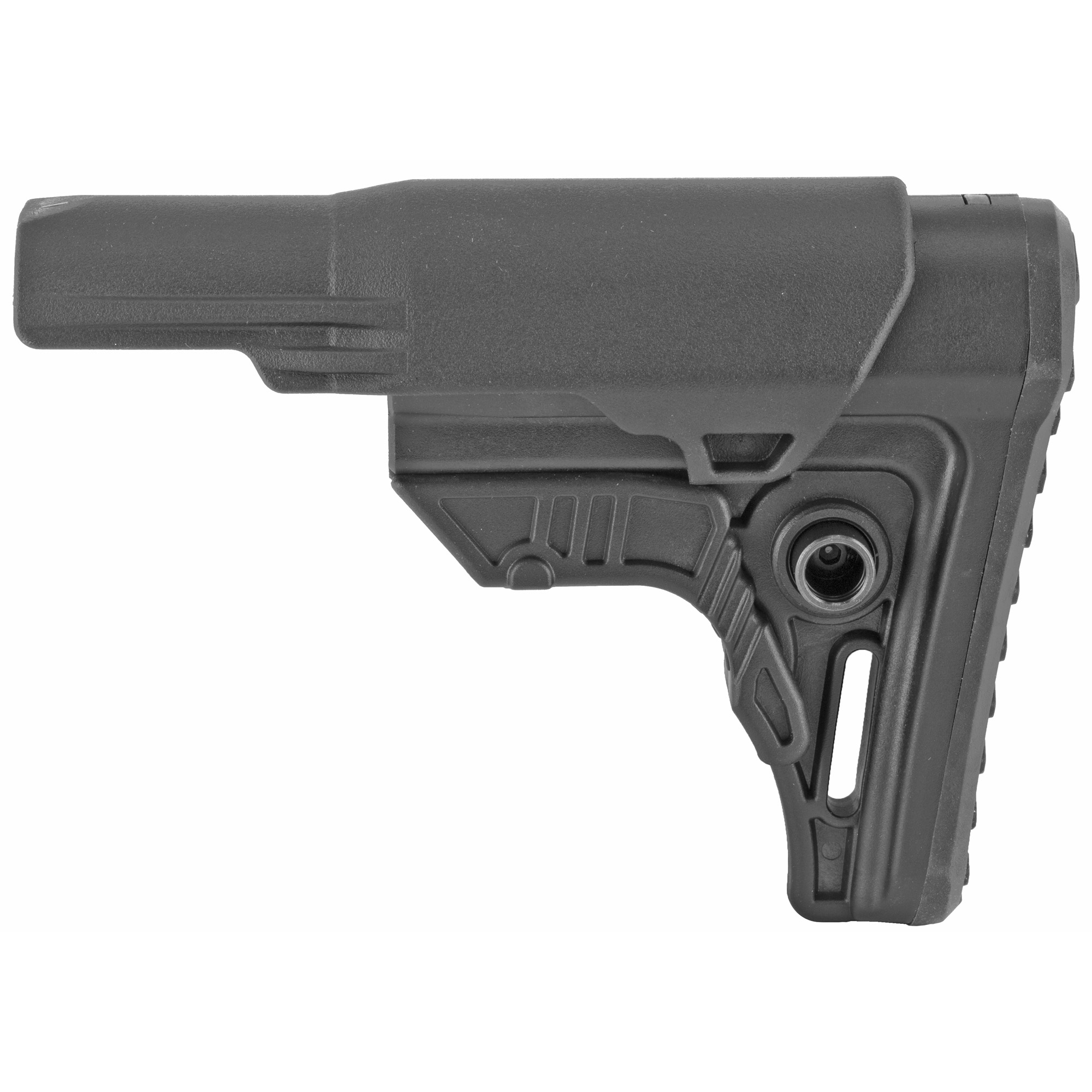 """This is a UTG PRO AR-15 Ops Ready S4 Mil-spec Stock molded from impact resistant high strength matte black polymer. Its unique 4.28"""" length with 4 position adjustability provides comfortable length of pull and ease of shouldering firearm when wearing a load bearing vest or plate carrier system. It is built for heavy duty use with the tightest tolerance controls to provide the most secure fit and function. Includes slanted cheek rest and removable 5.51"""" extended cheek rest insert"""" rubberized butt pad"""" reversible sling swivel housing and standard sling loop."""