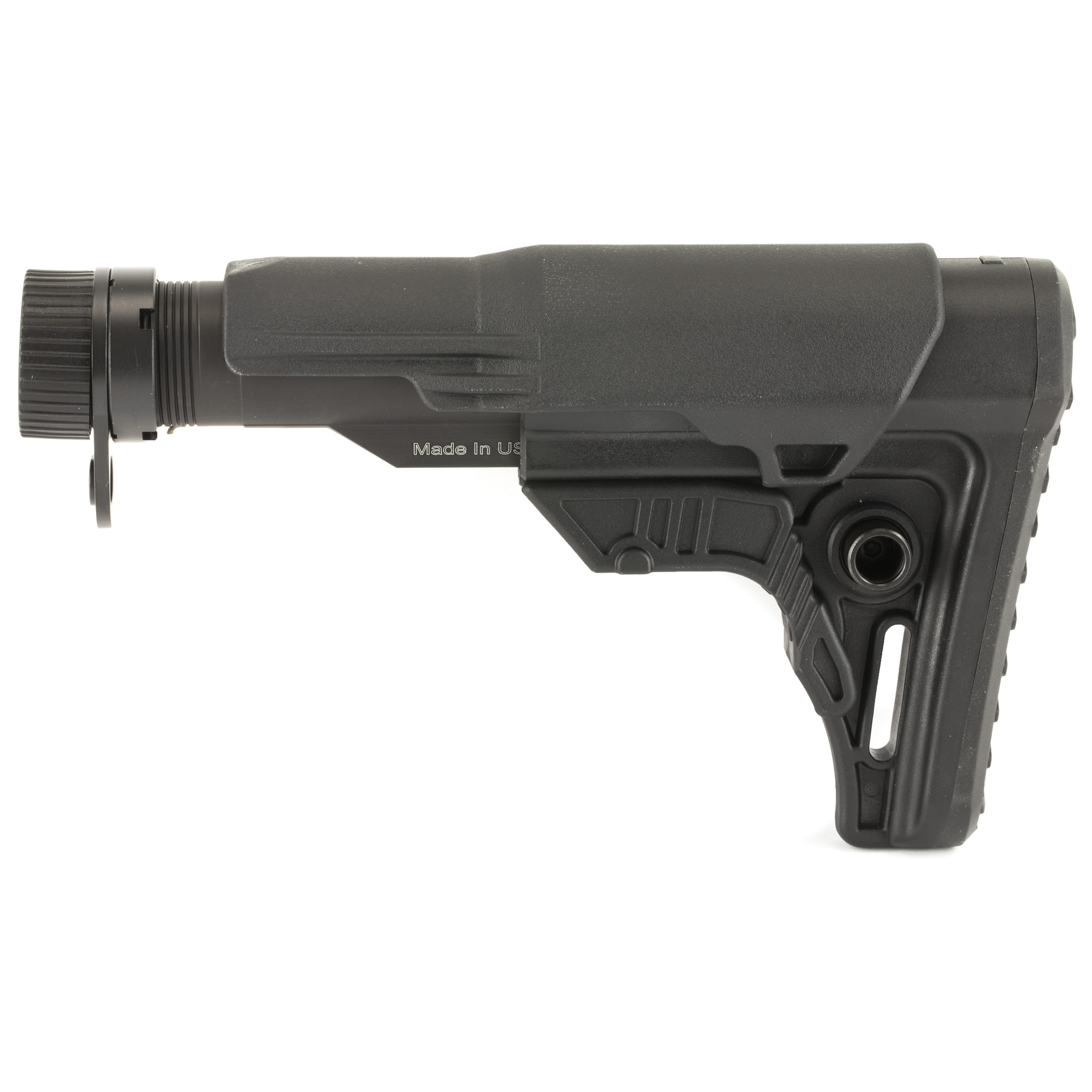"""This is a UTG PRO AR-15 Ops Ready S4 Mil-spec Stock Kit molded from impact resistant high strength matte black polymer. It is complete with Mil-spec extension tube"""" buffer"""" buffer spring"""" receiver end plate"""" and castle nut. Its unique 4.28"""" length with 4 position adjustability provides comfortable length of pull and ease of shouldering firearm when wearing a load bearing vest or plate carrier system. It is built for heavy duty use with the tightest tolerance controls to provide the most secure fit and function."""