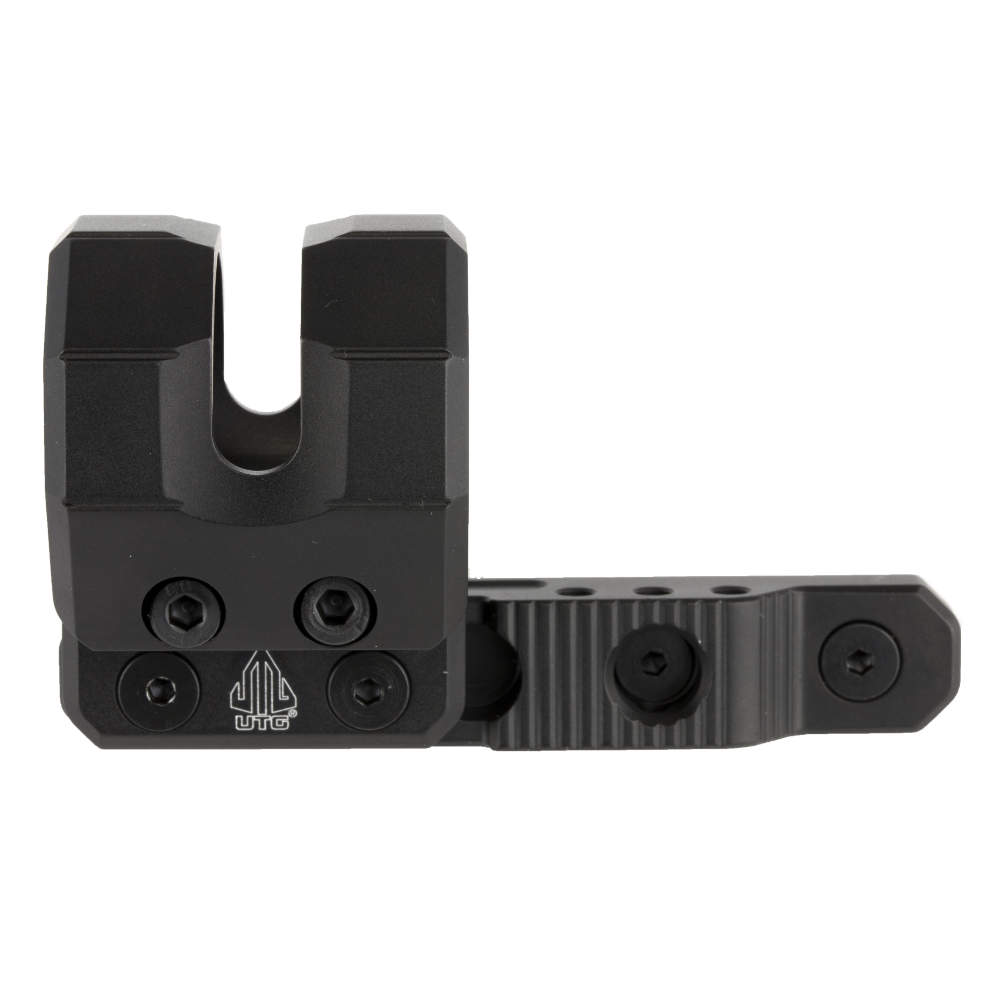 """This is a UTG Keymod offset flashlight ring mount. It is low profile"""" 3.47"""" in length"""" and comes with two inserts to fit 27mm"""" 25.4mm (1"""") or 20mm flashlight tube diameters. Includes keymod steel locking nuts"""" screws and Allen wrench for user friendly installation."""