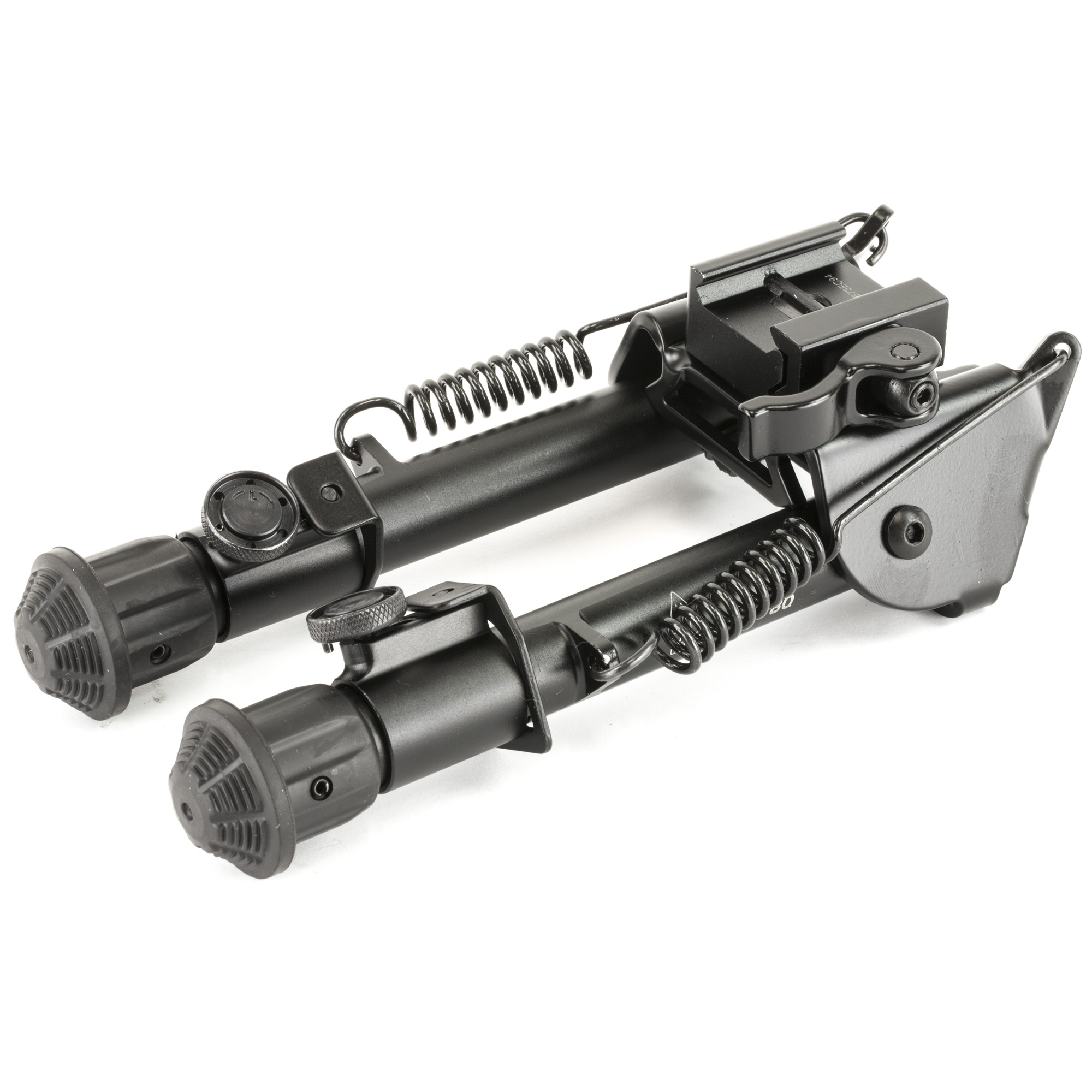 """Heavy duty tactical bipod adjusts in height to meet the needs of elite tactical teams. Features aluminum construction"""" quick detach lever lock"""" three extension notches to adjust legs from 5.9"""" to 7.3"""" in height"""" retraction button allows legs to be folded out of your way"""" non-slip rubberized feet and it allows you to pan for your target. Mounts to your quad rail or using the included swivel stud and weighs only 12.8 ounces."""