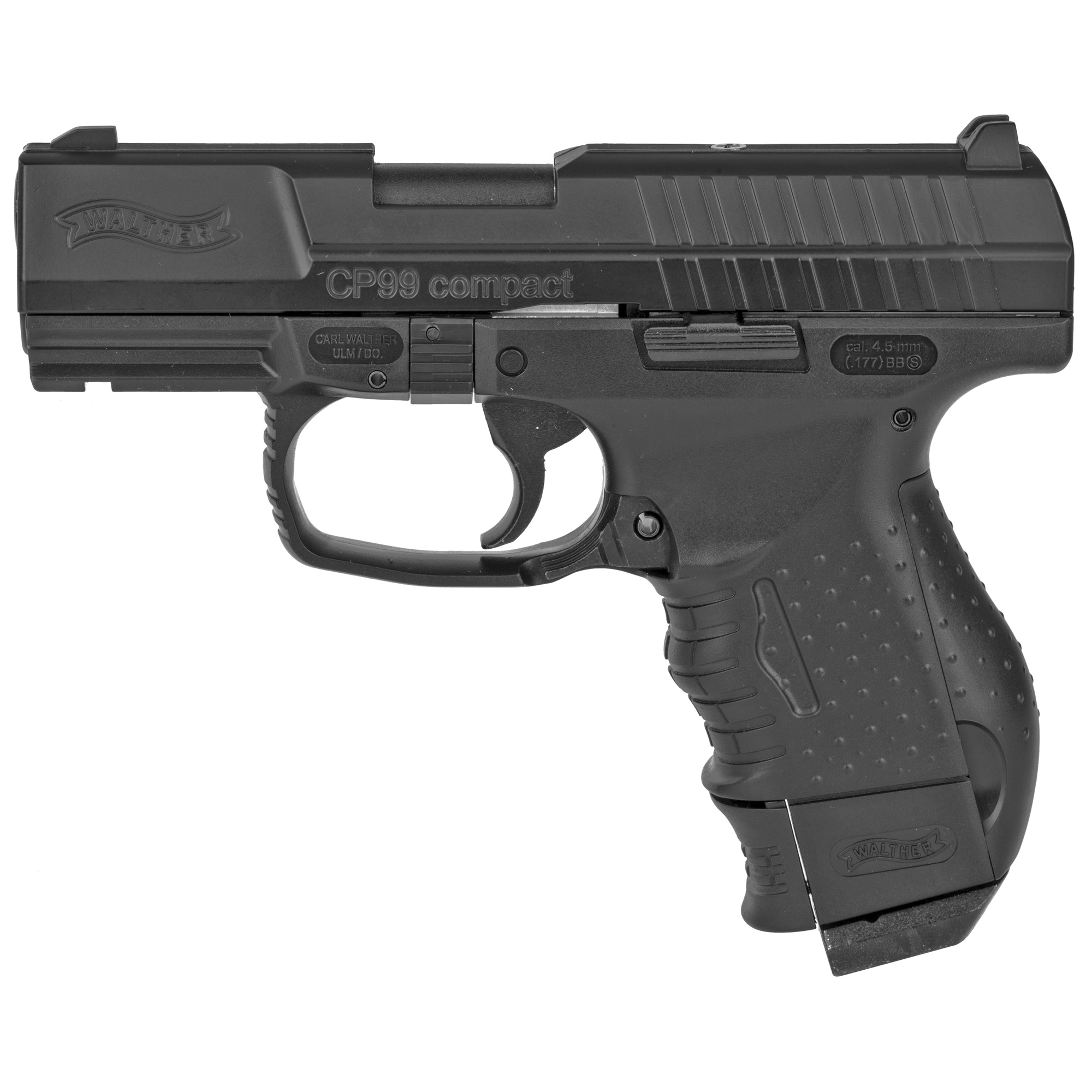 """This popular CO2 powered BB air pistol captures realism with its BLOWBACK"""" semi-automatic action and features a Picatinny mount to allow easy installation of accessories such as a Walther Laser Sight. A 12g CO2 cylinder loads in the back of the grip and the BB magazine releases with the push of a realistic magazine release lever. The recoil action made live by the power of CO2 kicks the slide back giving you a realistic feel. A great pistol for target games and owners of the P99 Compact or similar firearms."""