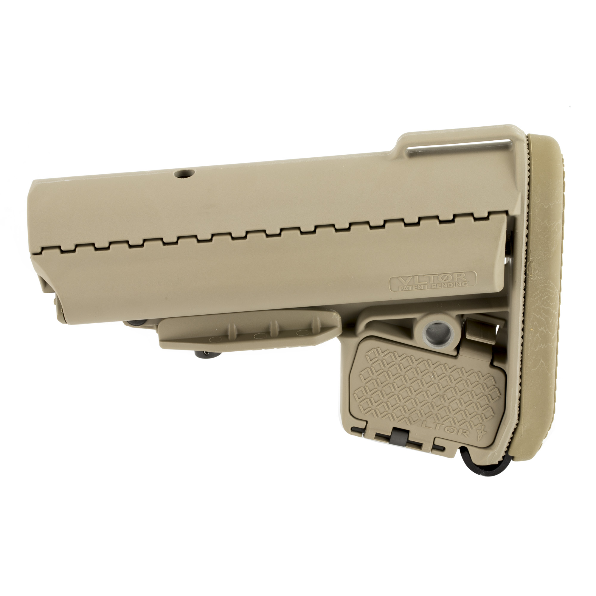 """The VLTOR EMOD provides a variety of enhancements in comparison to other stocks. The increased length is a major benefit for those weapons using scoped rifles"""" as it increases the available comb for any length of pull. The EMOD is slightly wider and longer at the toe than a regular M4 stock with a noticeable negative pitch making transitions from the ready position feel more natural."""