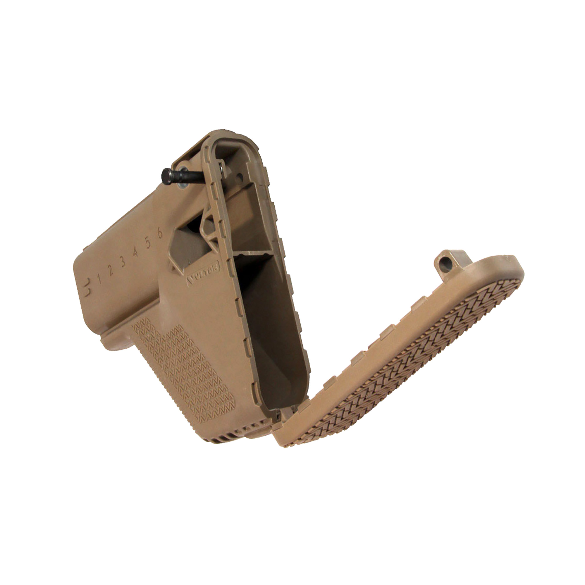 """This replacement module for the FN SCAR incorporates the same battle-proven enhancements from the VLTOR modstocks. The buttpad has been re-shaped to include a negative pitch for a more natural transition to the ready position. Storage space"""" QD sling swivel sockets"""" and a metal reinforcement plate have been added for greater usability and function. The VLTOR SCAR stock is a necessary upgrade to the OE SCAR buttstock."""
