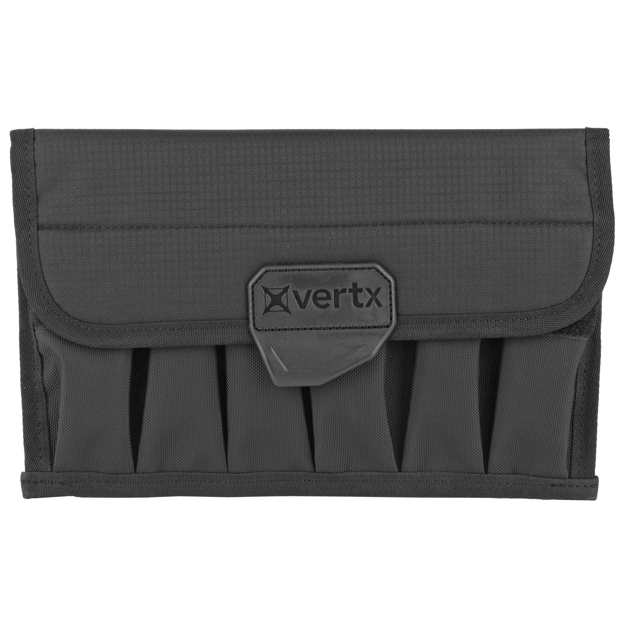 """This is a durable platform to securely store and access multiple magazines. Originally built for inclusion with the Vertx Range Bags"""" the Vertx Magazine Pouch holds up to 12 single or 6 double stack magazines. It provides a compact"""" yet durable platform to securely store"""" transport and access multiple magazines quickly. The Cordura flap secured with Velcro keeps dirt and dust away from magazines. The Vertx Magazine Pouch is excellent and compatible complement to any Vertx Bag or Pack"""