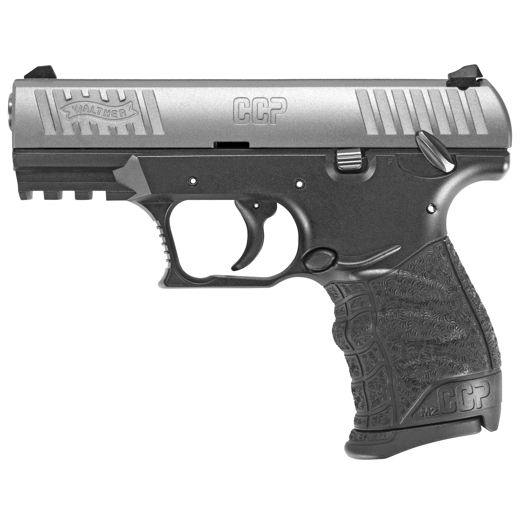 """The all new CCP M2 (Concealed Carry Pistol) in 9mm Luger has an ideal combination of style"""" ergonomics"""" size"""" shape"""" accuracy"""" and ability to conceal comfortably. The Walther SOFTCOIL(TM) gas-delayed blowback technology works to make the CCP an excellent concealed carry firearm."""