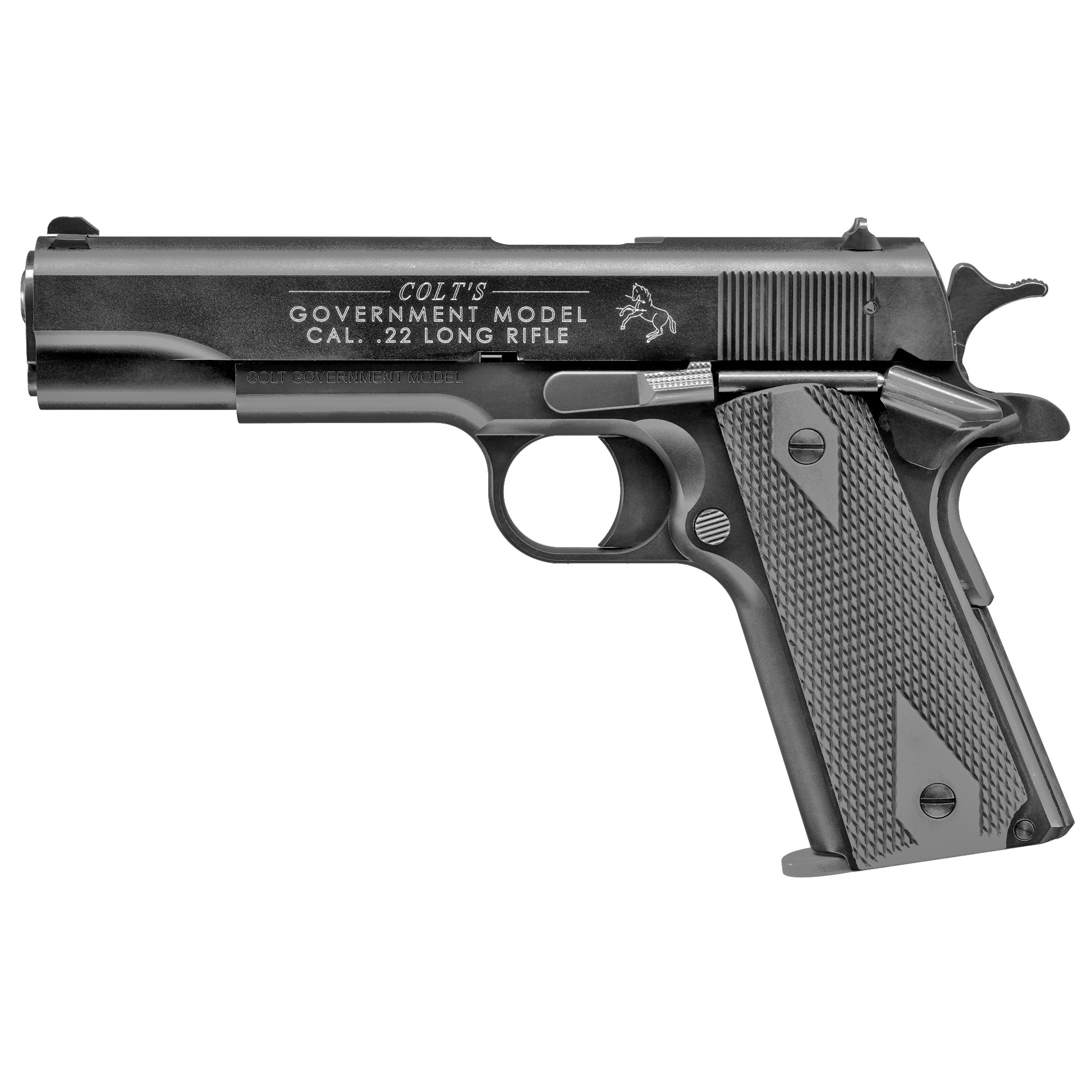 The Colt Government 1911 A1 is the classic configuration of the legendary Colt 1911 handgun carried by U.S. troops in several wars. The Colt Government 1911 A1 Semi-Automatic Pistol in .22 L.R. is manufactured exclusively by Walther under license from Colt. It is the only genuine Colt tactical rimfire replica available in the world.