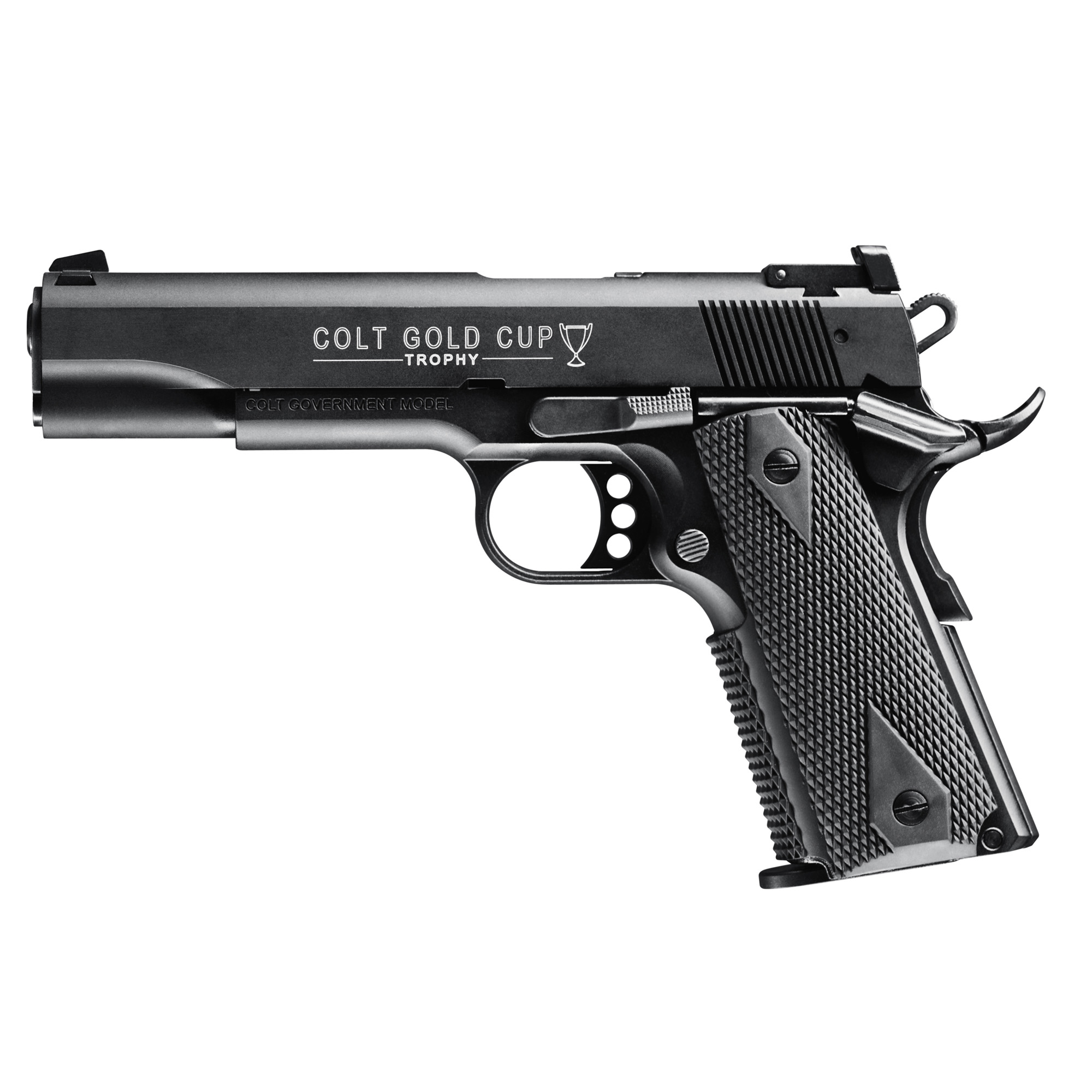 """The Colt Gold Cup is the competition configuration of the legendary Colt 1911 handgun. It includes a beavertail grip safety"""" target sights"""" skeleton trigger and other competition enhancements. The Colt 1911 A1 Gold Cup Semi-Automatic Pistol in .22 L.R. is manufactured exclusively by Walther under license from Colt. It is the only genuine Colt tactical rimfire replica available in the world."""