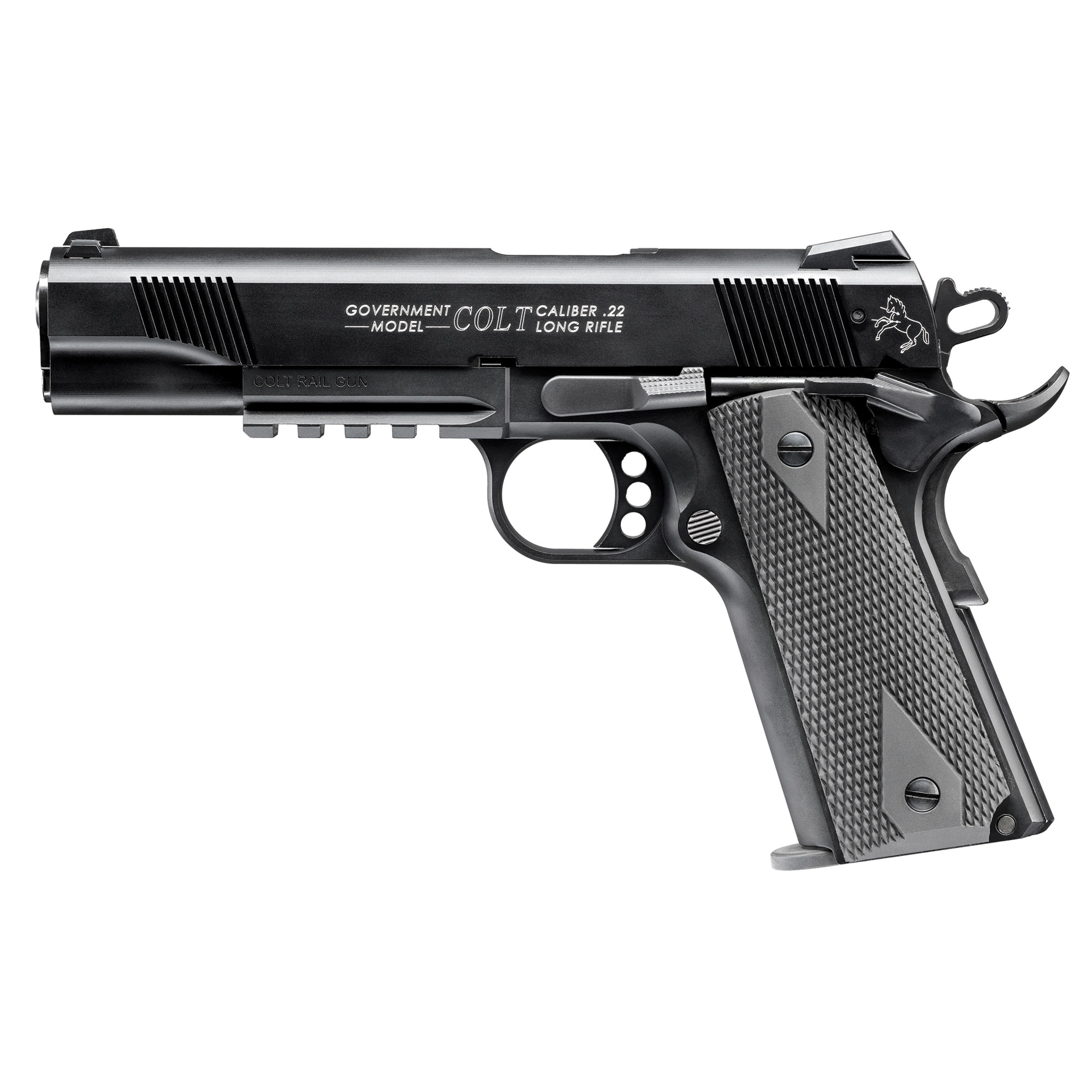 """The Colt 1911 A1 Rail Gun is the modern combat version of the legendary Colt 1911 handgun. It includes low profile combat sights"""" beavertail safety"""" and an accessory rail under the barrel. The Colt Government 1911 A1 Rail Gun Semi-Automatic Pistol in .22 L.R. is manufactured exclusively by Walther under license from Colt. It is the only genuine Colt tactical rimfire replica available in the world."""