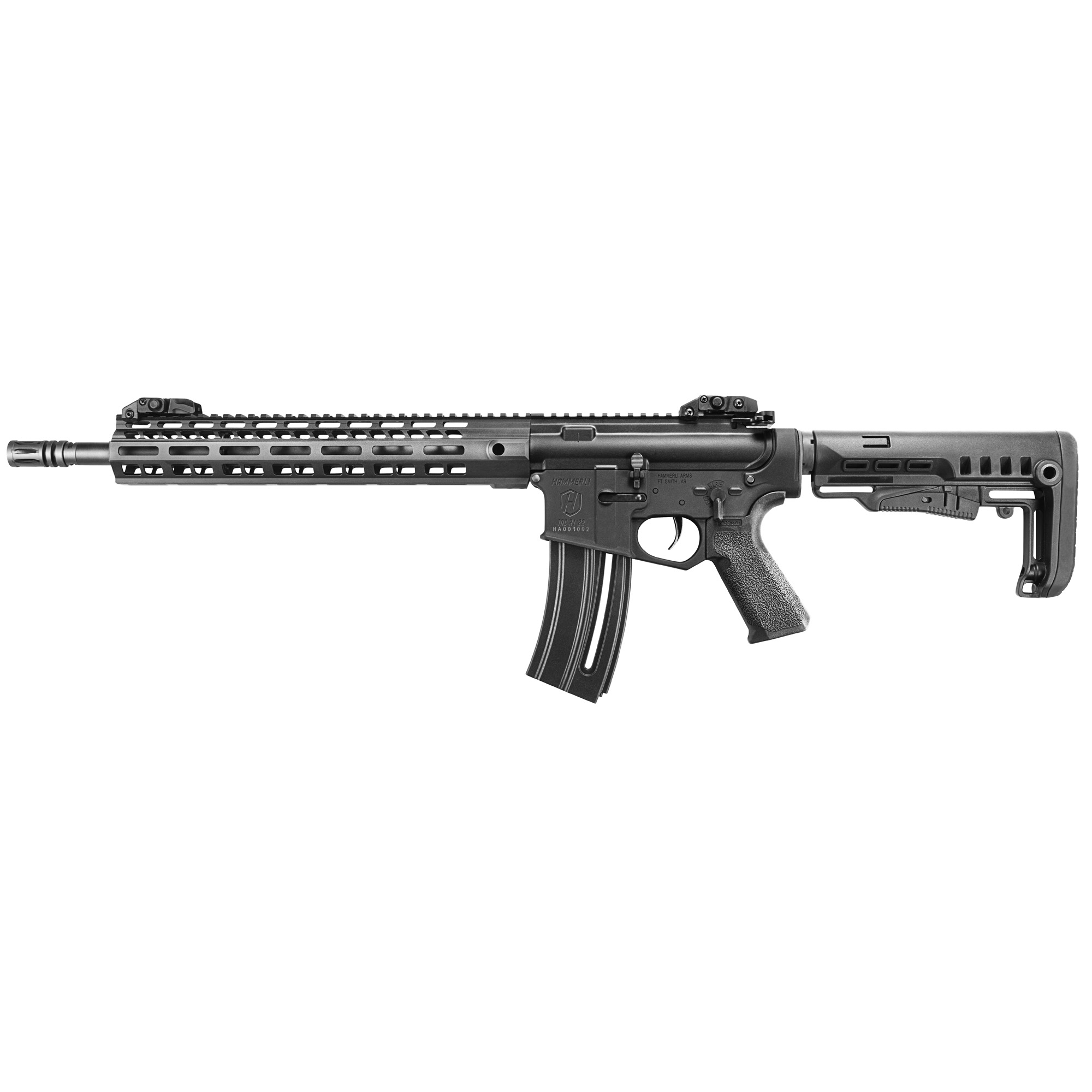 """The HAMMERLI TAC R1 22 rifle offers the best precision"""" quality"""" and value of any .22 L.R. AR-Style rifle on the market. Featuring a 13"""" M-LOK(R) handguard"""" flip up back-up sights"""" removable flash-hider"""" and ergonomic stock & grip"""" the TAC R1 22 rifle is the most versatile .22 rifle available. All of these features"""" in addition to the all-aluminum construction of it's receivers and handguard"""" set a new standard for performance and value."""