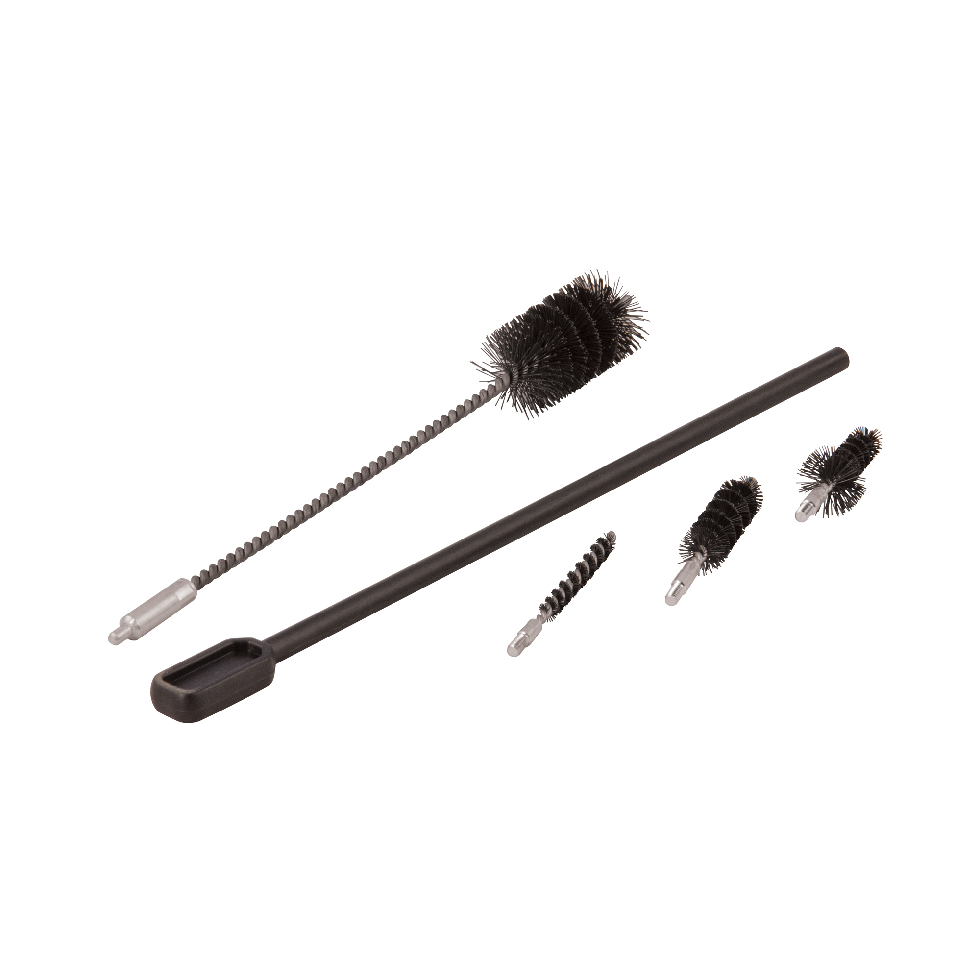 """The Wheeler Delta Series AR-15 Complete Brush Set is specifically designed for cleaning your AR-15. The brushes are made of a high quality stiff Nylon"""" spun around steel cores for added stability. The brushes feature an 8 x 32 thread that fit on the included cleaning handle or any 8 x 32 cleaning rod. The brush set has everything you need to clean your rifle"""" plus everything you need to keep your magazines clean and running reliably."""